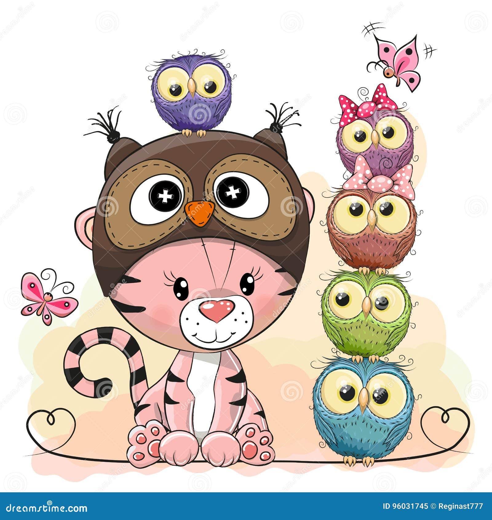 Ślicznej kreskówki Tygrysie i pięć sowy