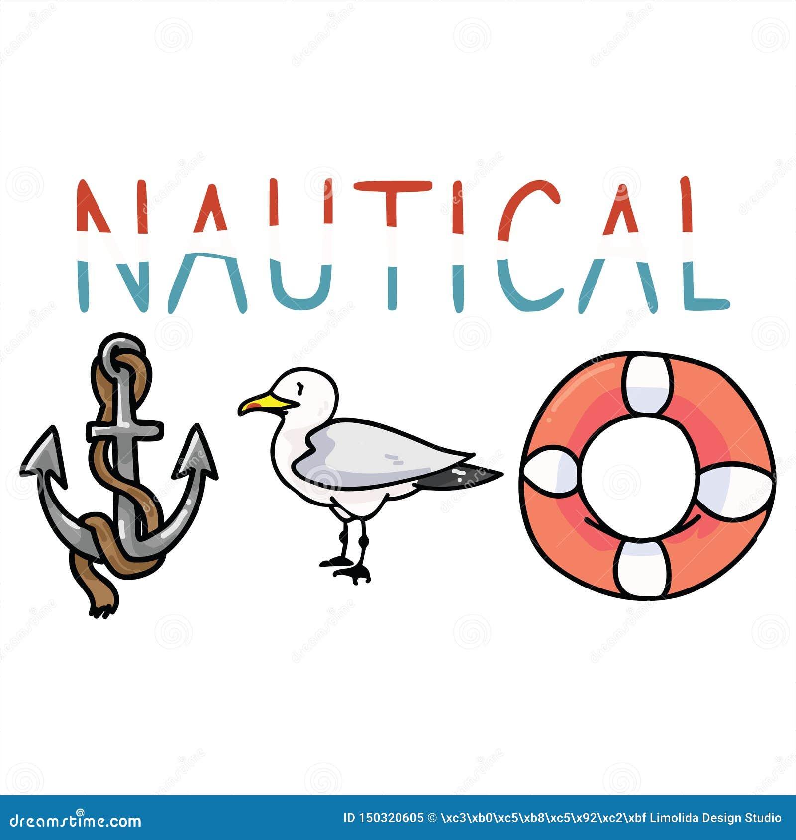 Ślicznej nautycznej typografii kreskówki motywu wektorowy ilustracyjny set Wręcza rysującego odosobnionego ocean przyrody element