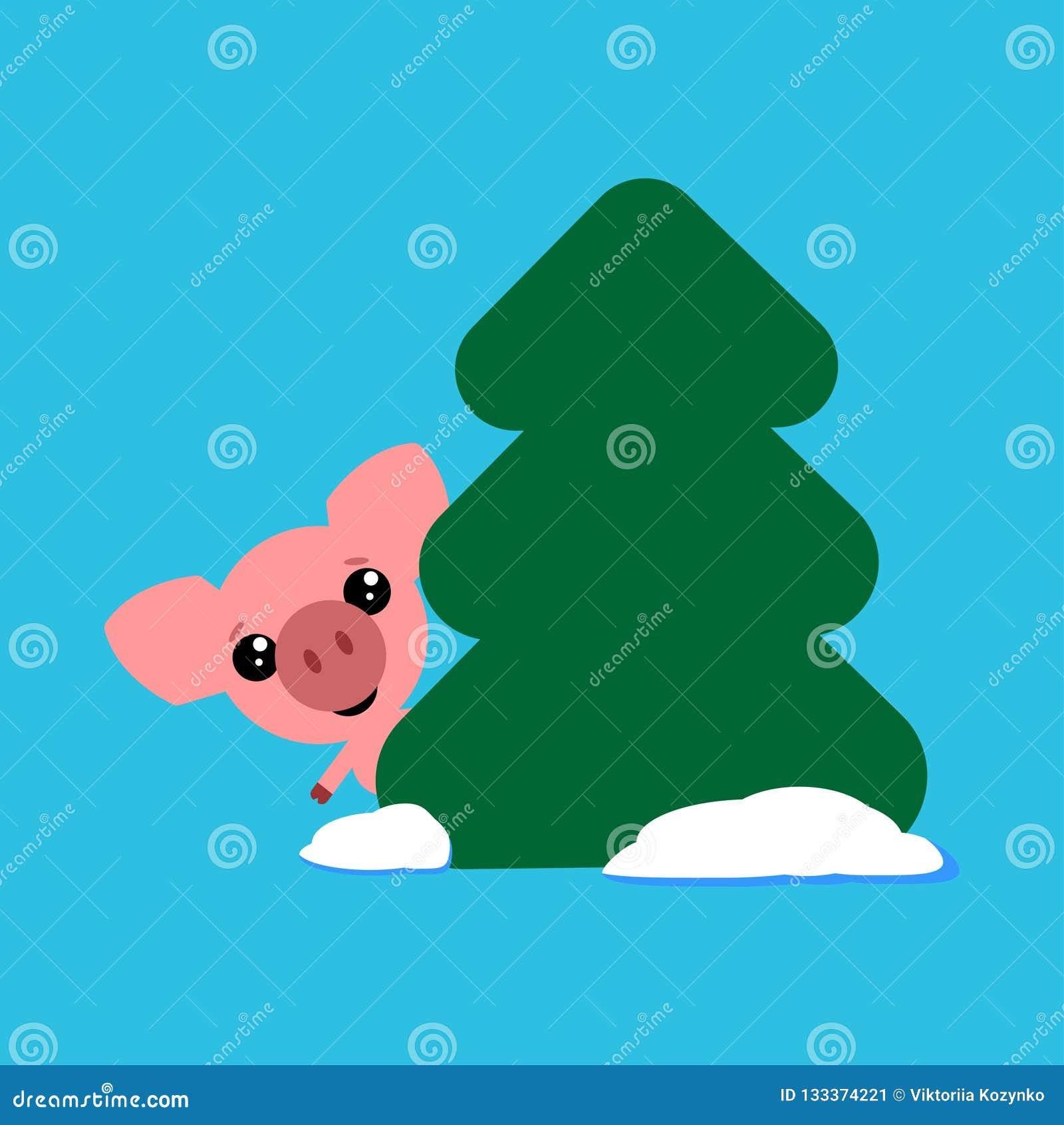Śliczni świni spojrzenia za od za drzewnym, śmiesznym charakterze, Symbol rok w Wschodnim kalendarzu również zwrócić corel ilustr