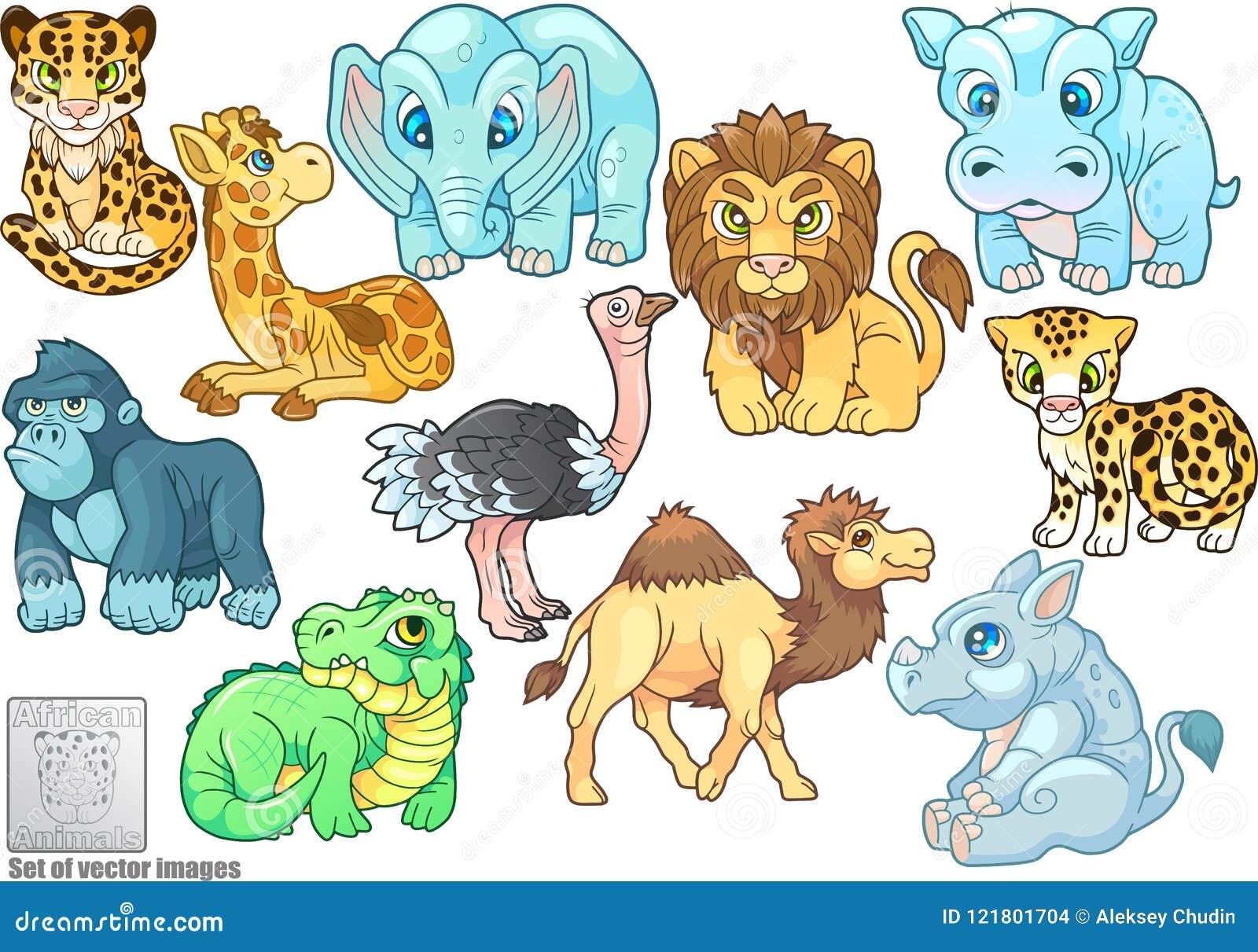 Śliczni afrykańscy zwierzęta, set wektorowe ilustracje