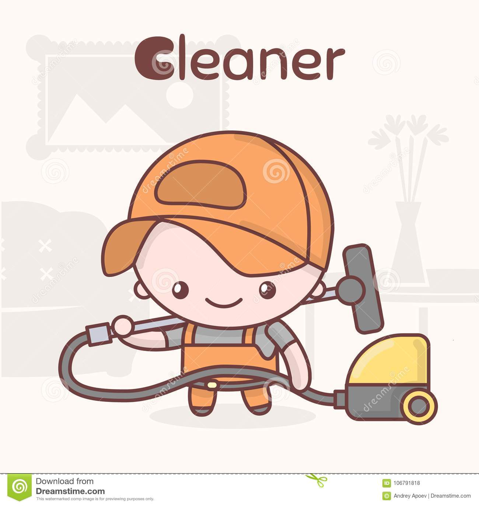 Śliczni chibi kawaii charaktery Abecadło zawody List C - Cleaner