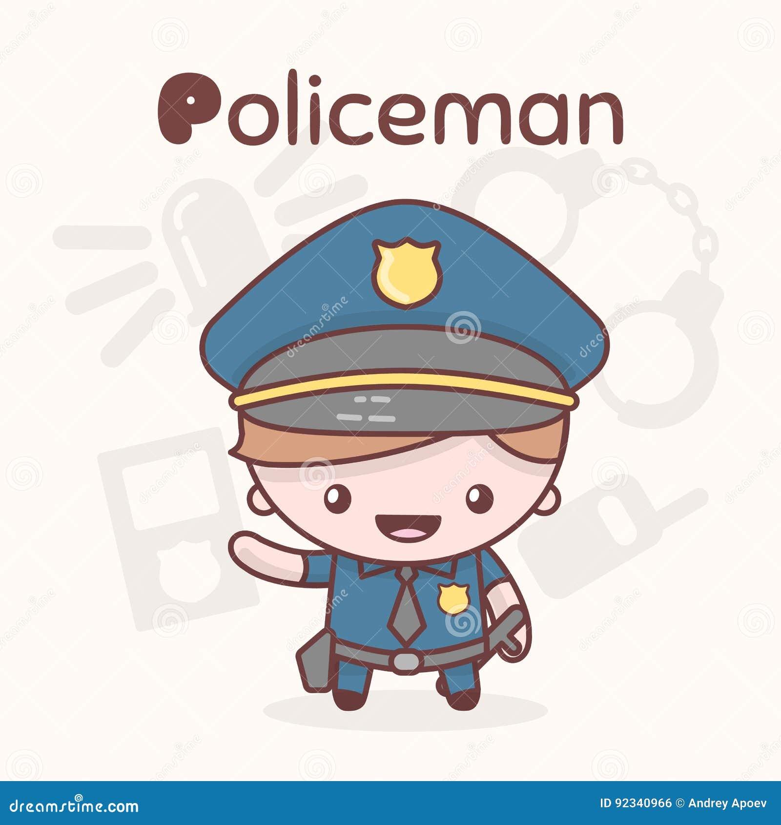 Śliczni chibi kawaii charaktery Abecadło zawody Listowy P - policjant