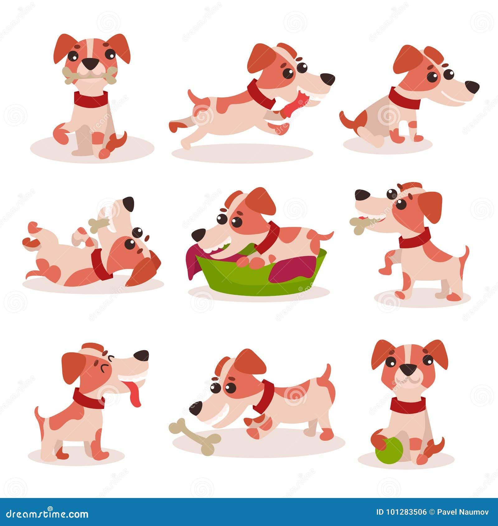 Śliczni dźwigarki Russell teriera charaktery ustawiają, śmieszny pies w różnych pozach i sytuacja wektoru ilustracje