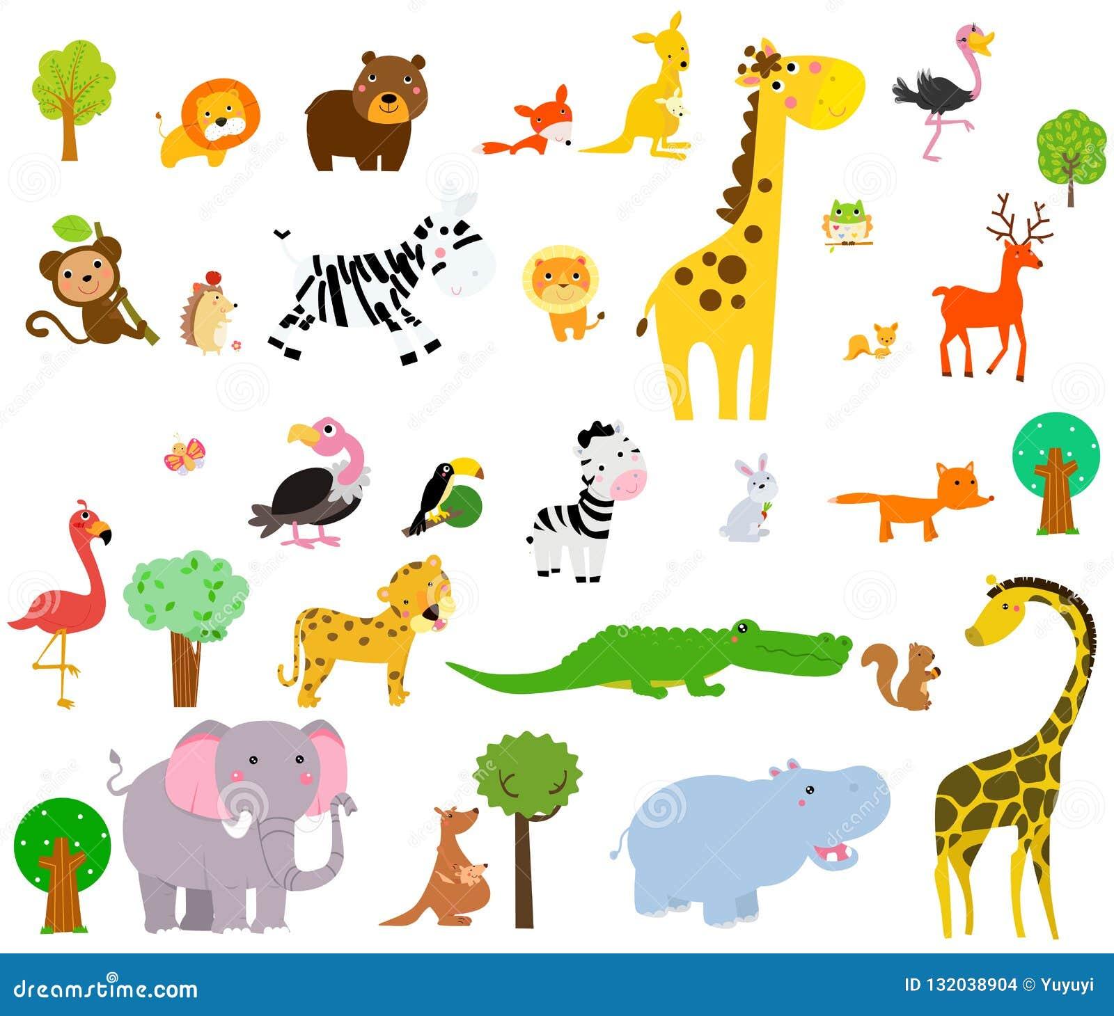 Śliczni dzikie zwierzęta safari afrykańskiej również zwrócić corel ilustracji wektora