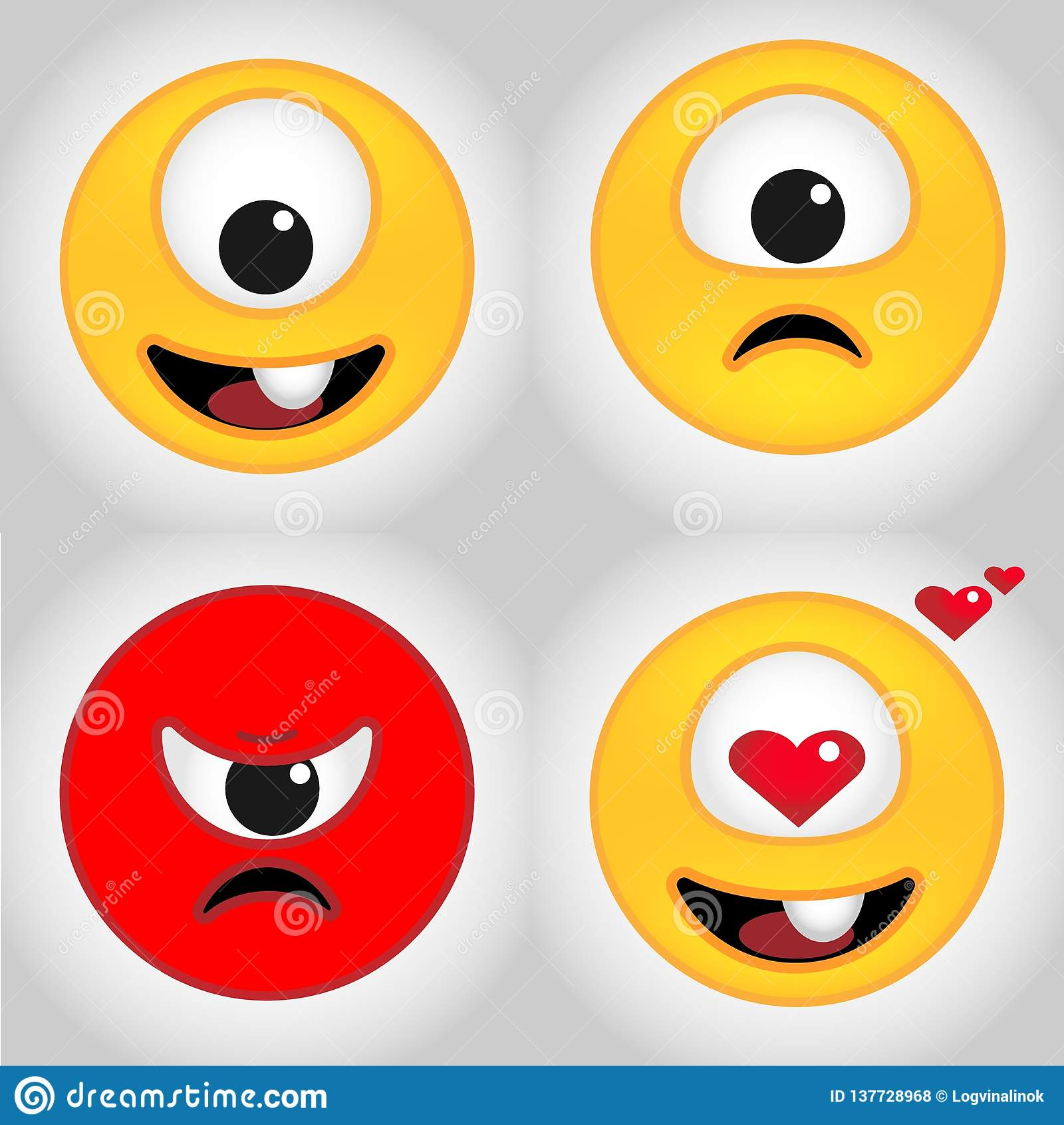Śliczni jednoocy emoticons są stosowni dla dekoracji majchery i odznaki
