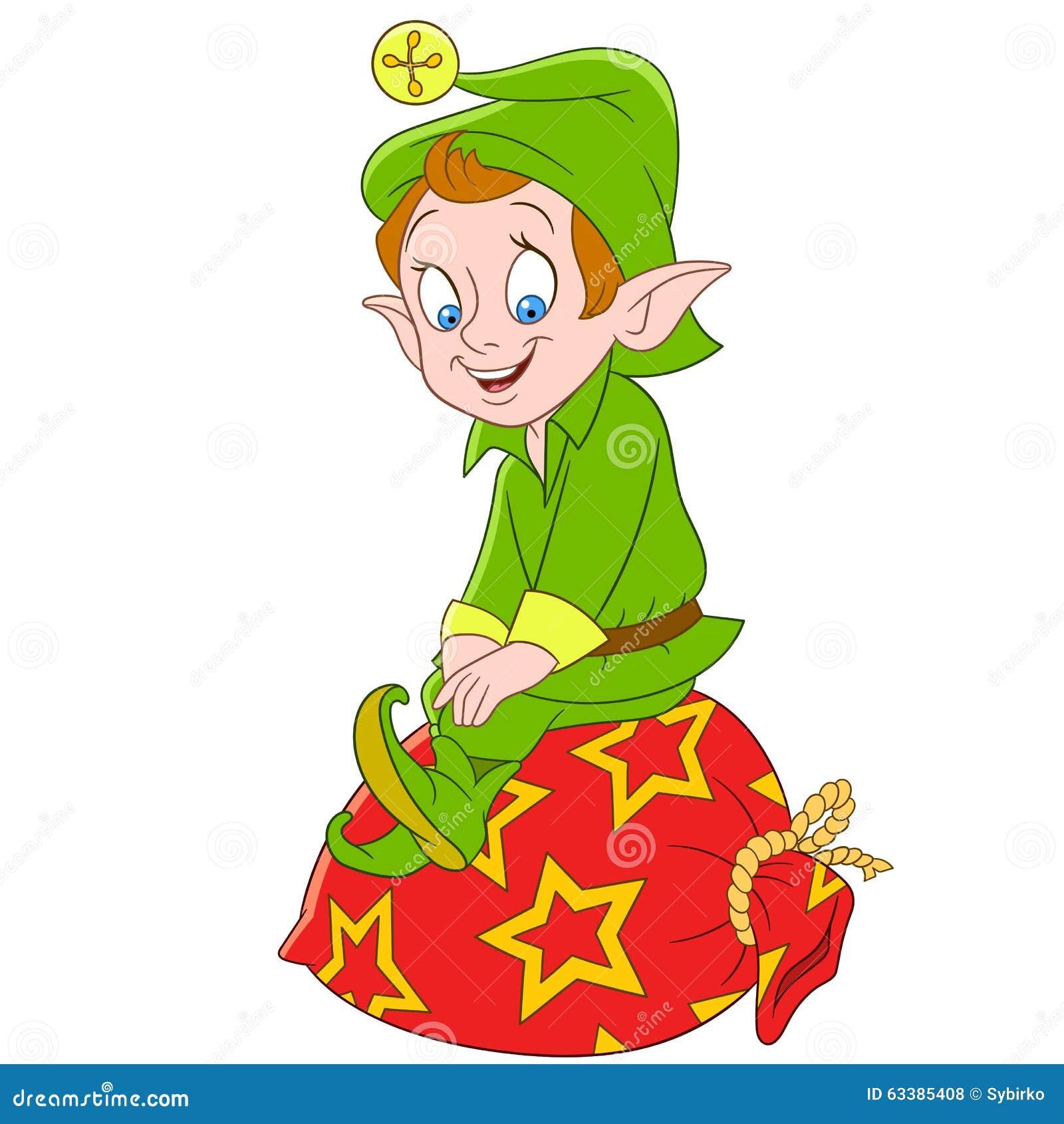 Śliczni kreskówek boże narodzenia elfy lub Santa Claus pomagier
