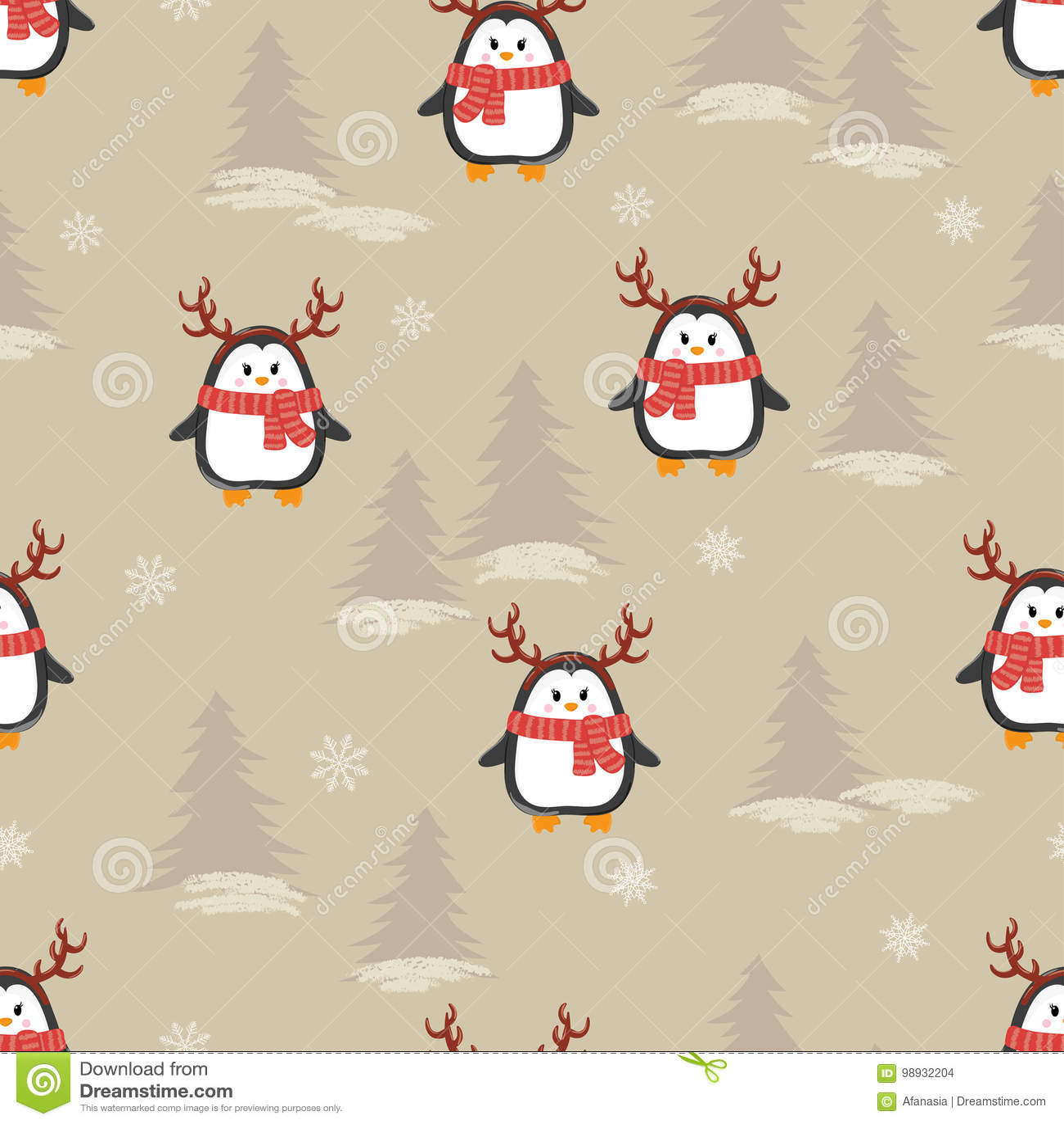 Śliczni kreskówka pingwiny z rogaczem uzbrajać w rogi bezszwowego wzór