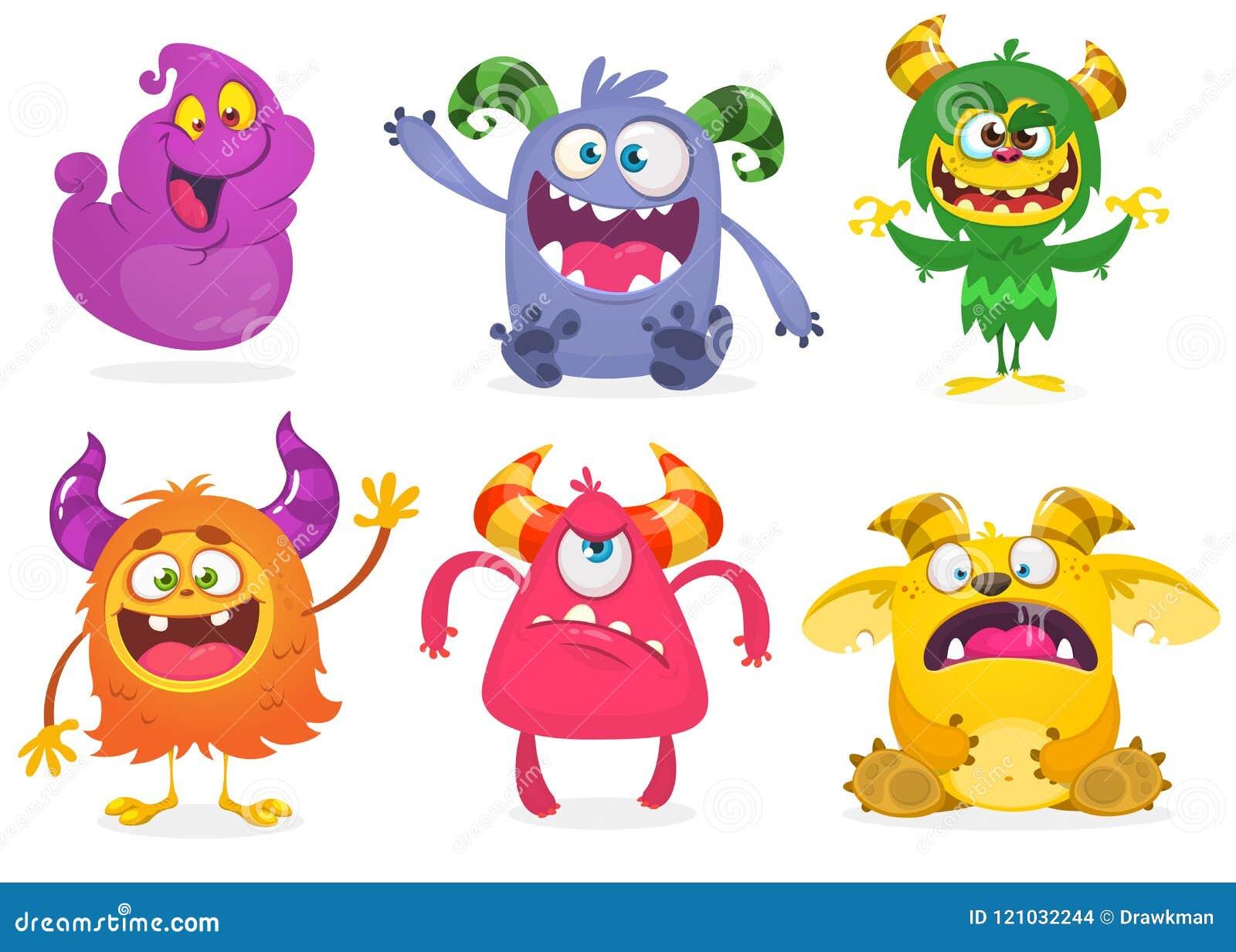 śliczni kreskówka potwory Wektorowy ustawiający kreskówka potwory: duch, dziwożona, Bigfoot yeti, błyszczka, obcy i gremlin,