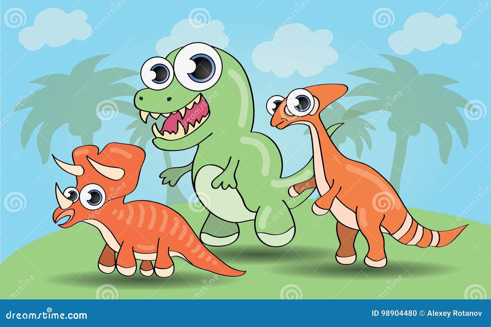 Śliczni kreskówka stylu dinosaury ustawiający