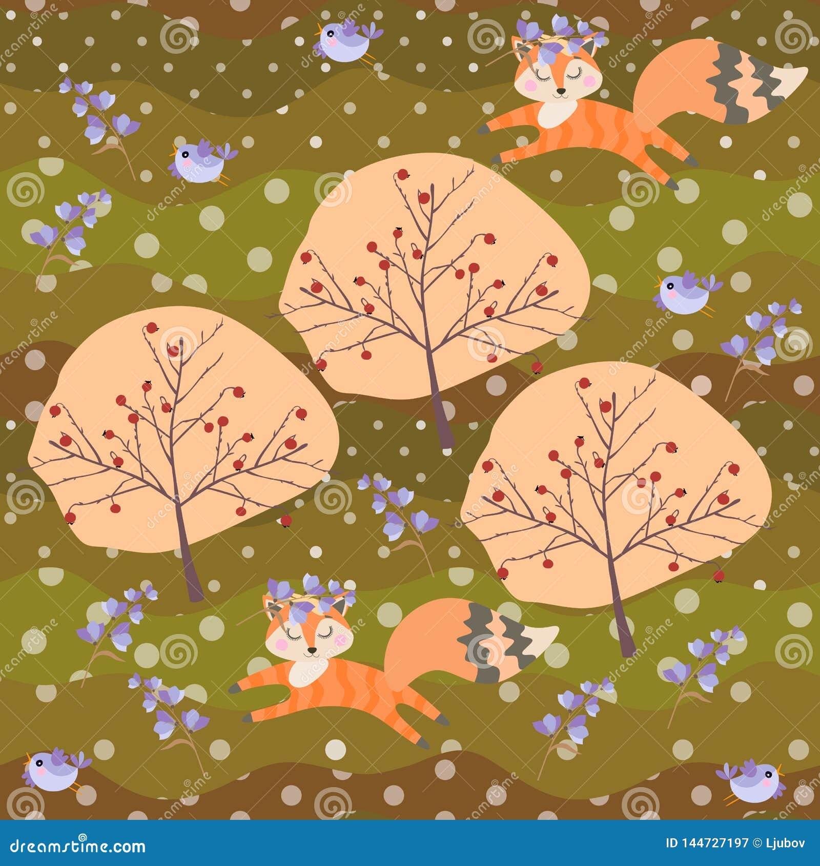 Śliczni lisów lisiątka w wiankach dzwonkowi kwiaty i mali ptaki baraszkują w lato patchworku lasowym Bezszwowym wzorze w wekt