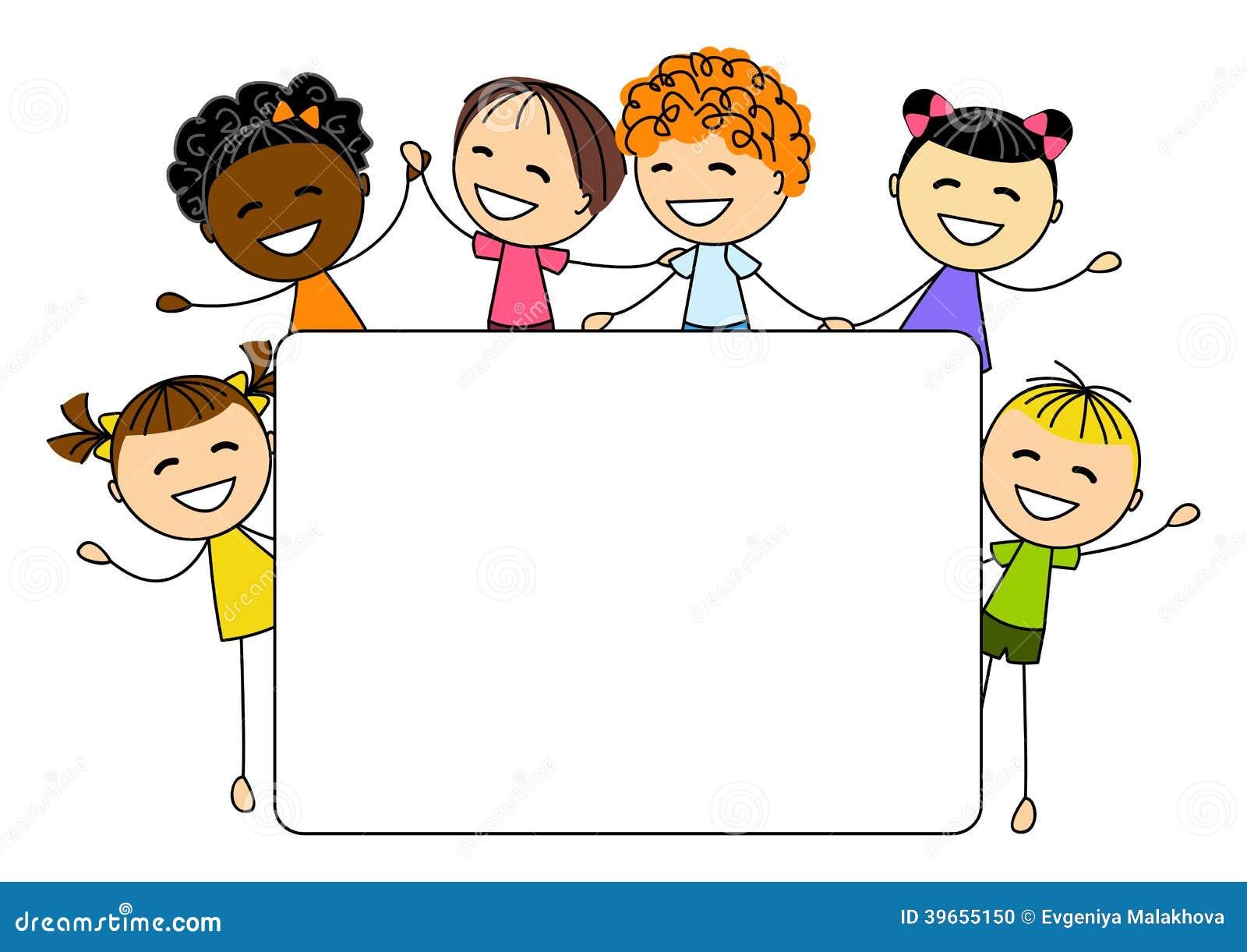 Śliczni małe dzieci z papierową kartą