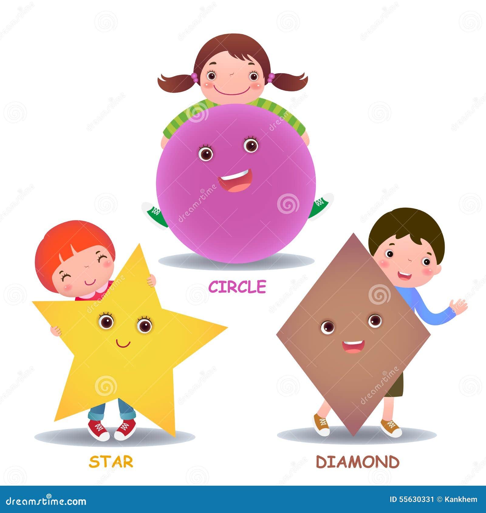 Śliczni mali kreskówka dzieciaki z podstawową kształt gwiazdą okrążają diament