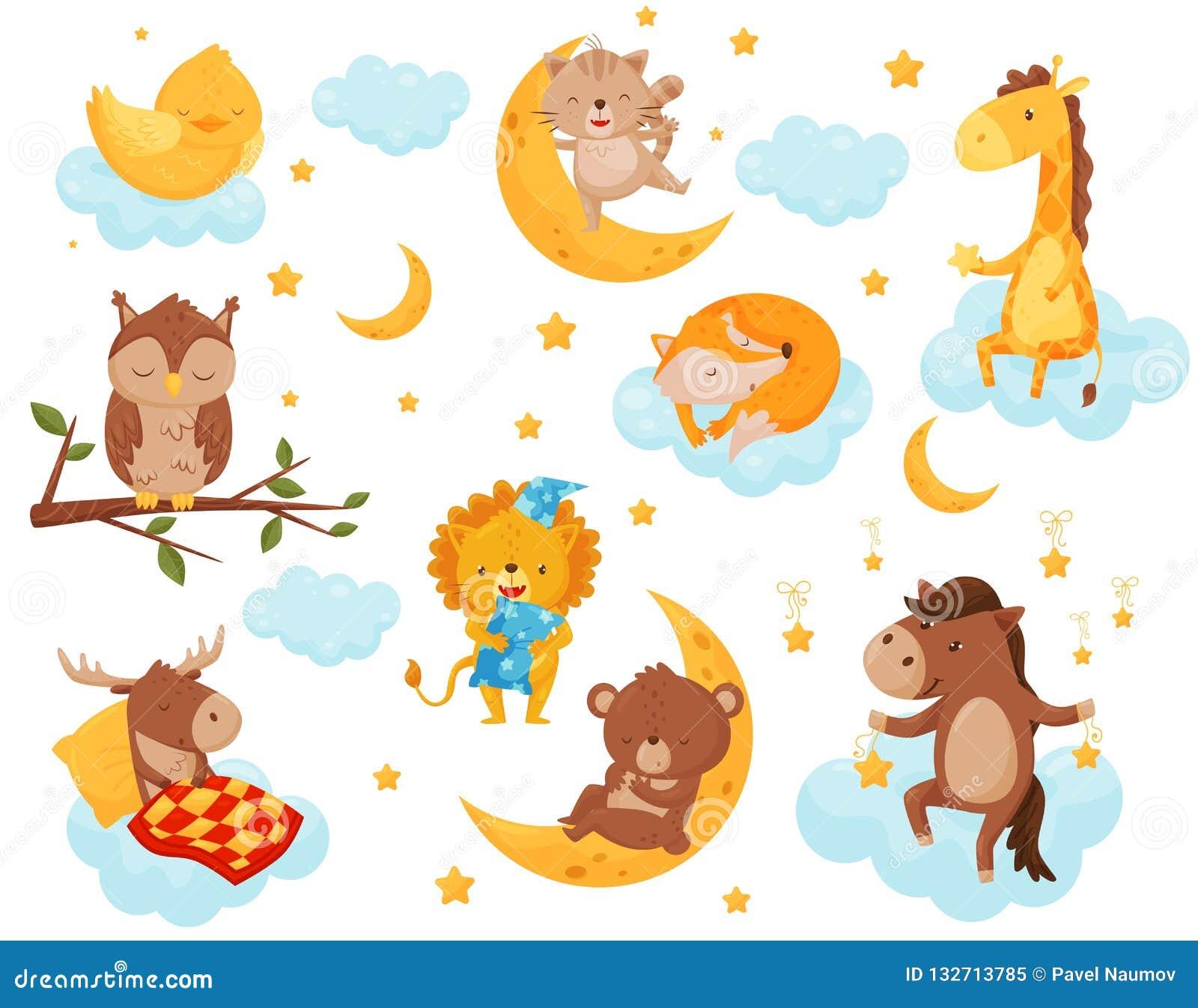 Śliczni mali zwierzęta śpi pod gwiaździstym niebo setem, uroczy kurczak, kot, żyrafa, koń, niedźwiedź, rogacz, sowy dosypianie da