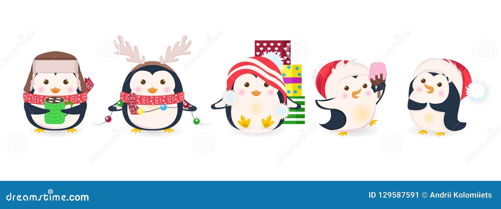 Śliczni pingwiny ustawiający Xmas kreskówki wektoru ilustracja