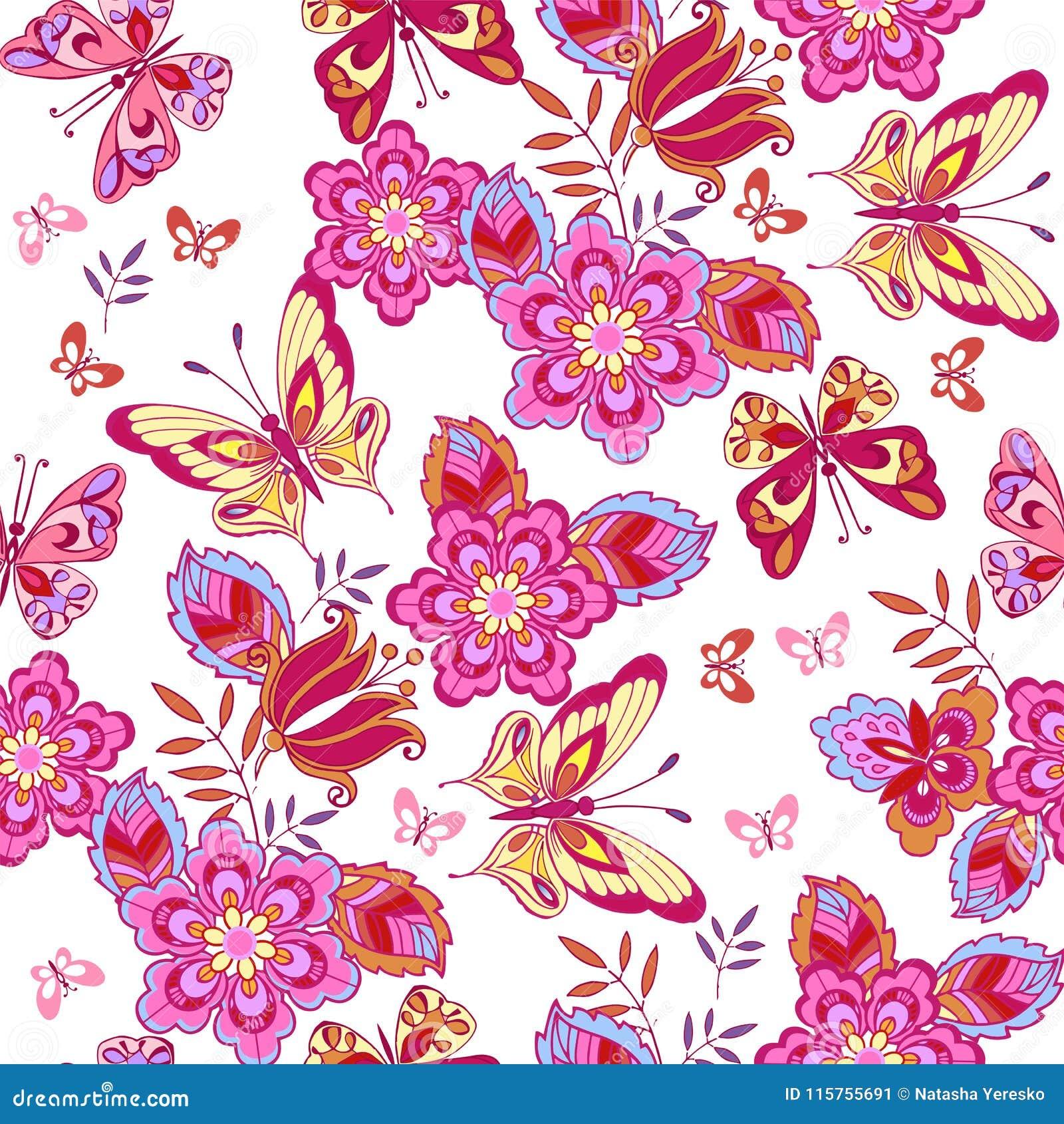 Śliczni Różowi Motyle Na Białym Tle Motyli Kwiatów Ilustraci
