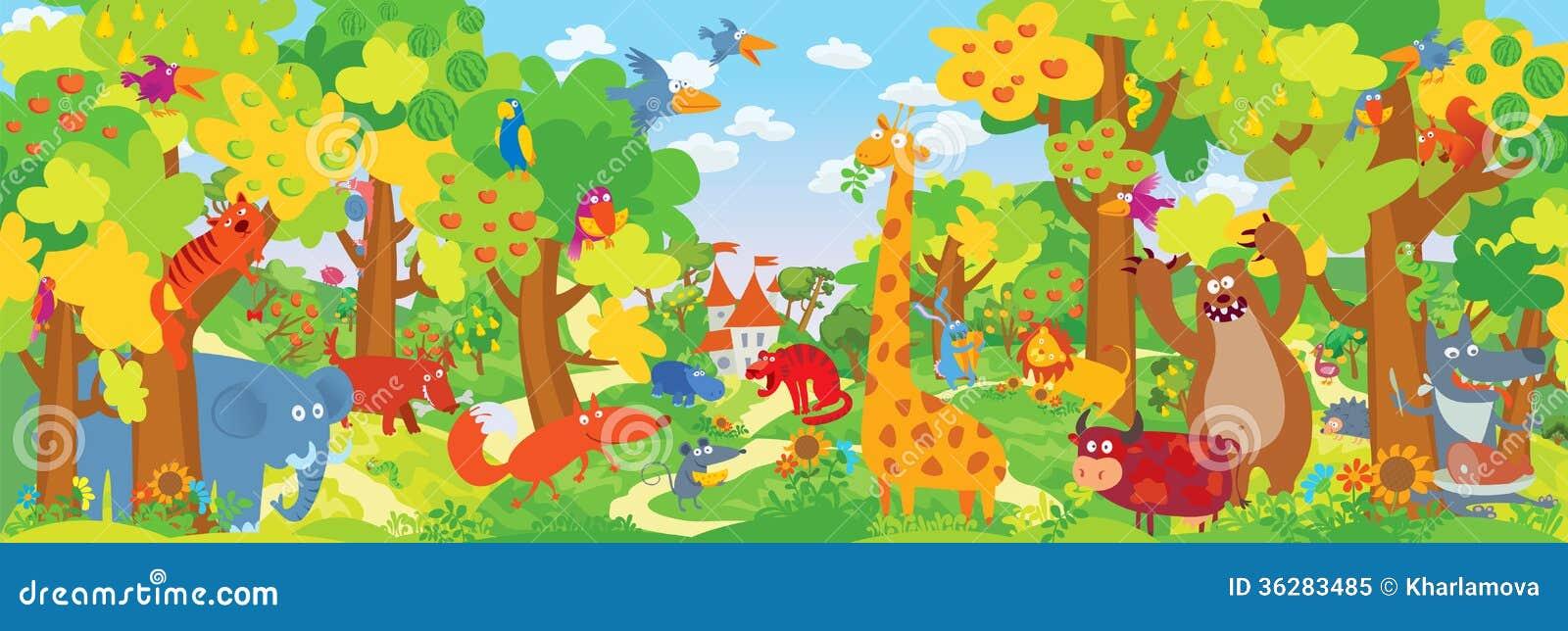 Śliczni zoo zwierzęta
