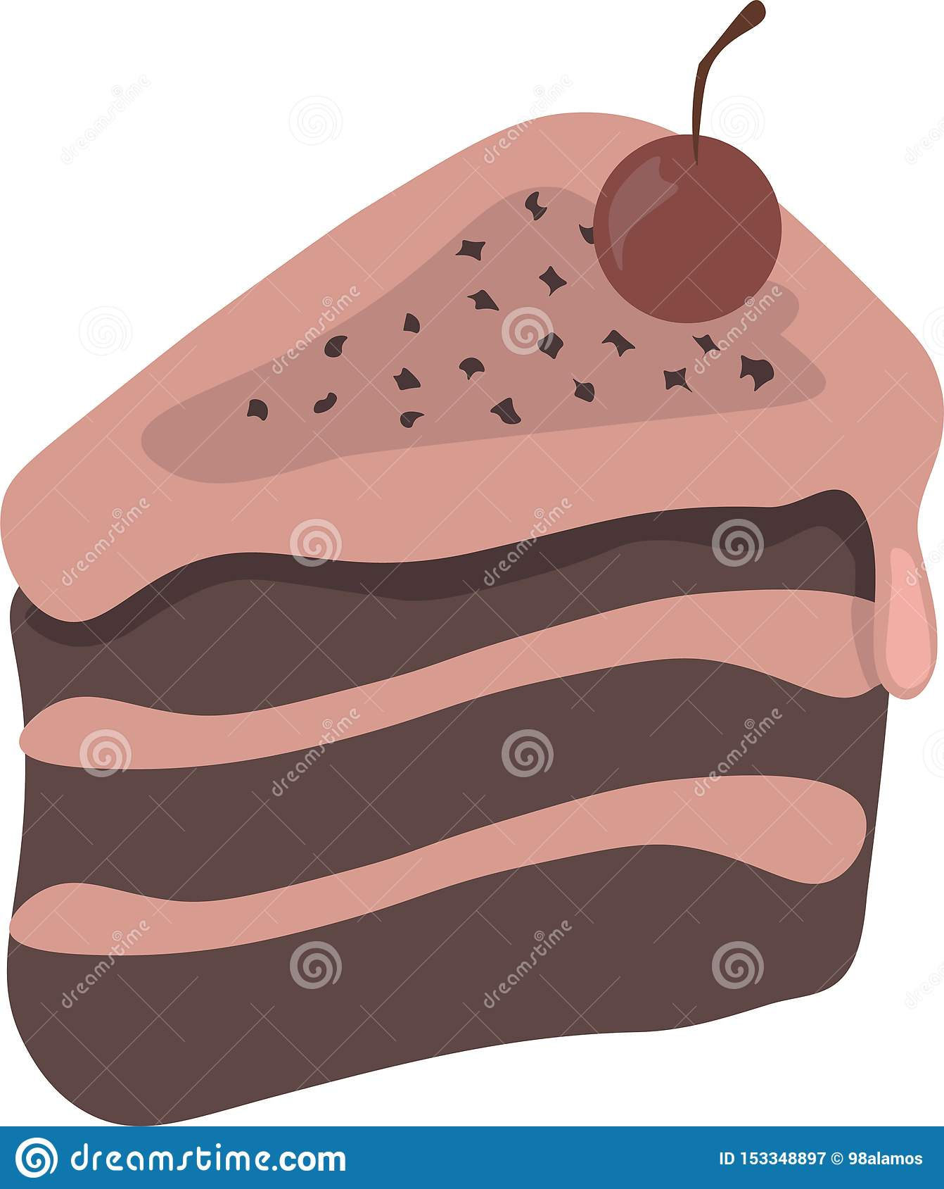 Śliczny ładny kreskówka kawałek tort z wiśnią