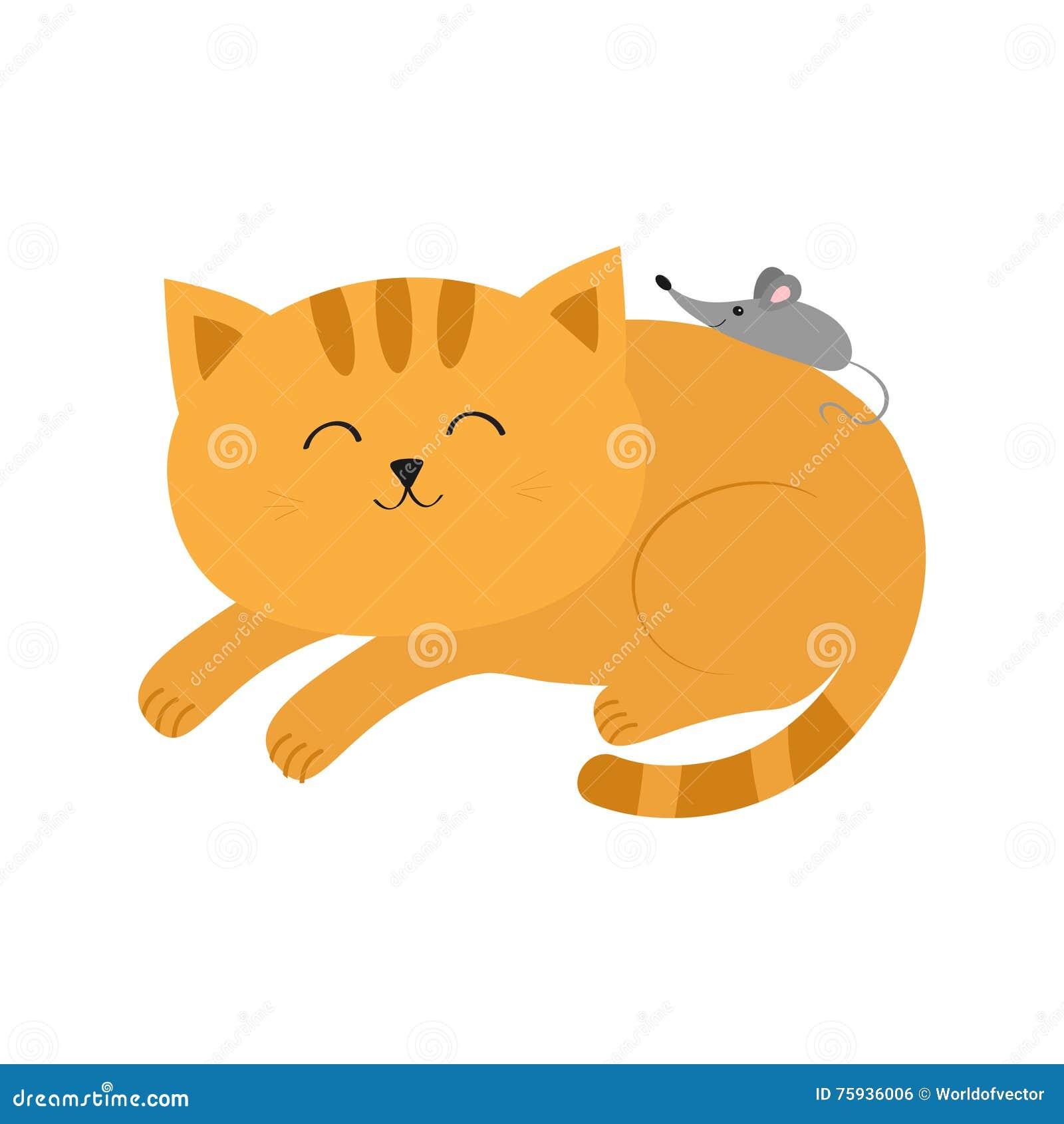 Śliczny łgarski sypialny pomarańczowy kot z wąsa bokobrody mała myszka Zwierzęcy przyjaciele Śmieszna postać z kreskówki para Bia