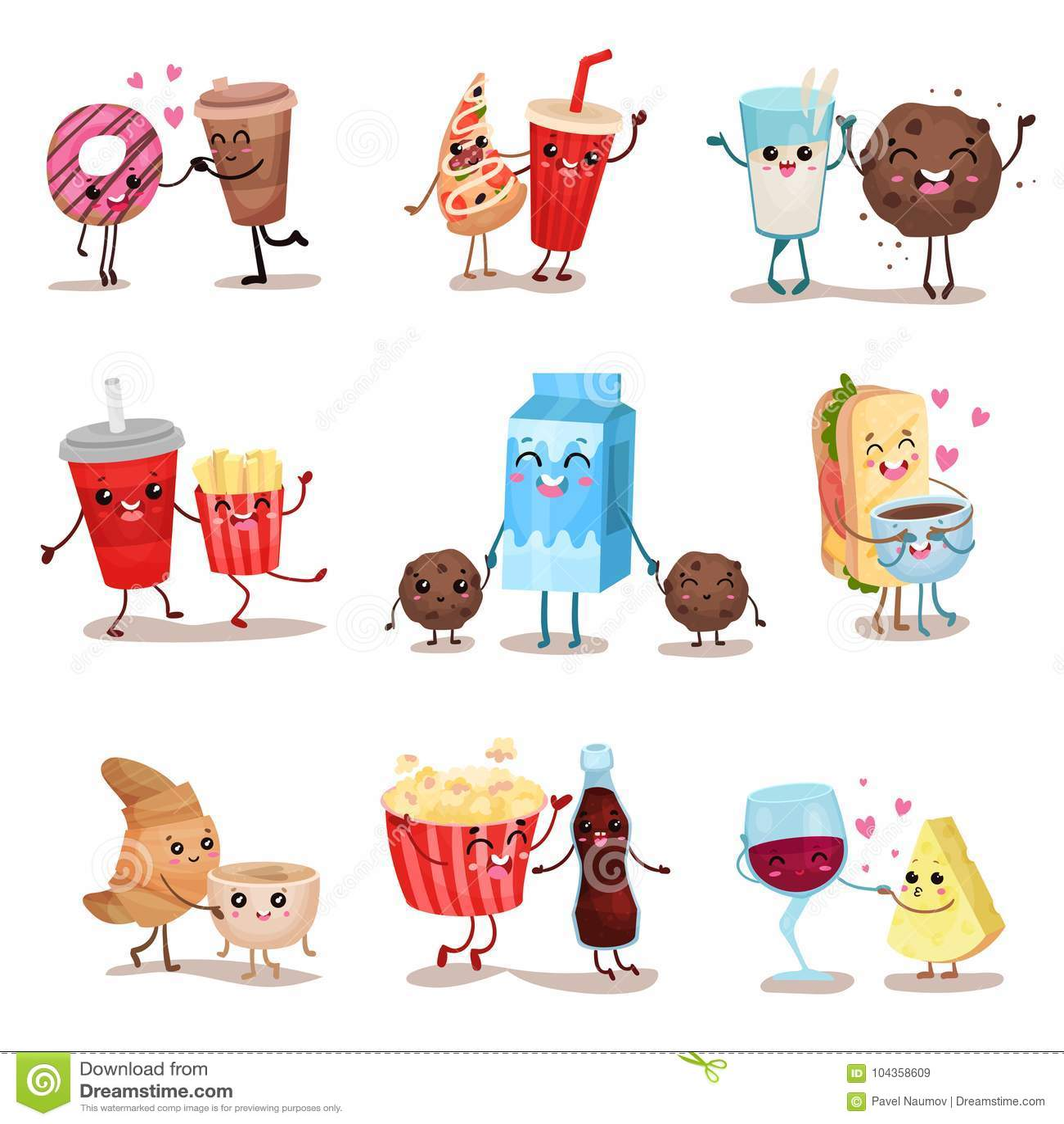 Śliczny śmieszny karmowy i pije charakterów ustawiających, najlepsi przyjaciele, śmieszne fasta food menu wektoru ilustracje