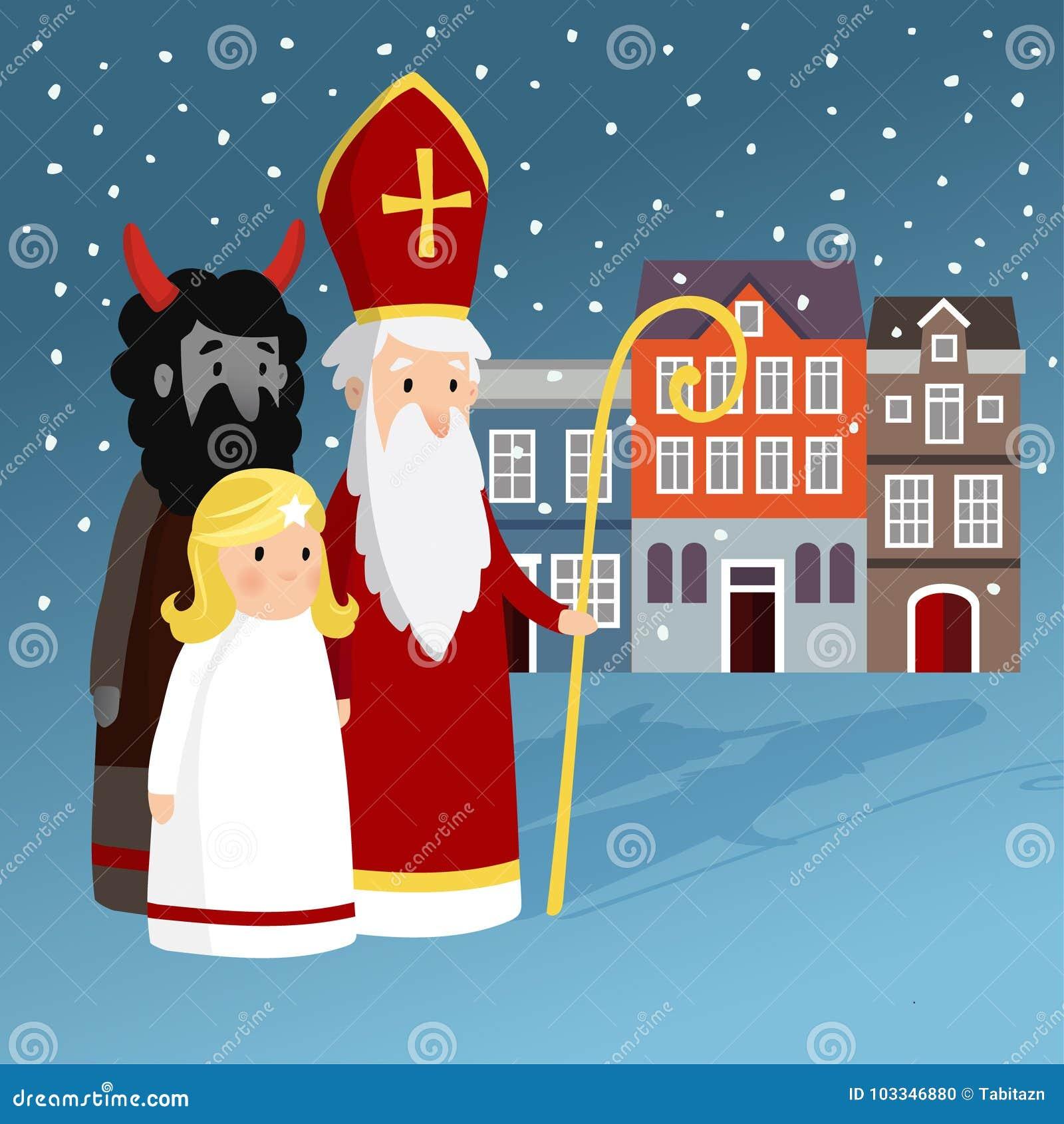 Śliczny święty Nicholas, diabeł, starzy grodzcy domy i spada śnieg z aniołem, Bożenarodzeniowa zaproszenie karta, wektorowa ilust