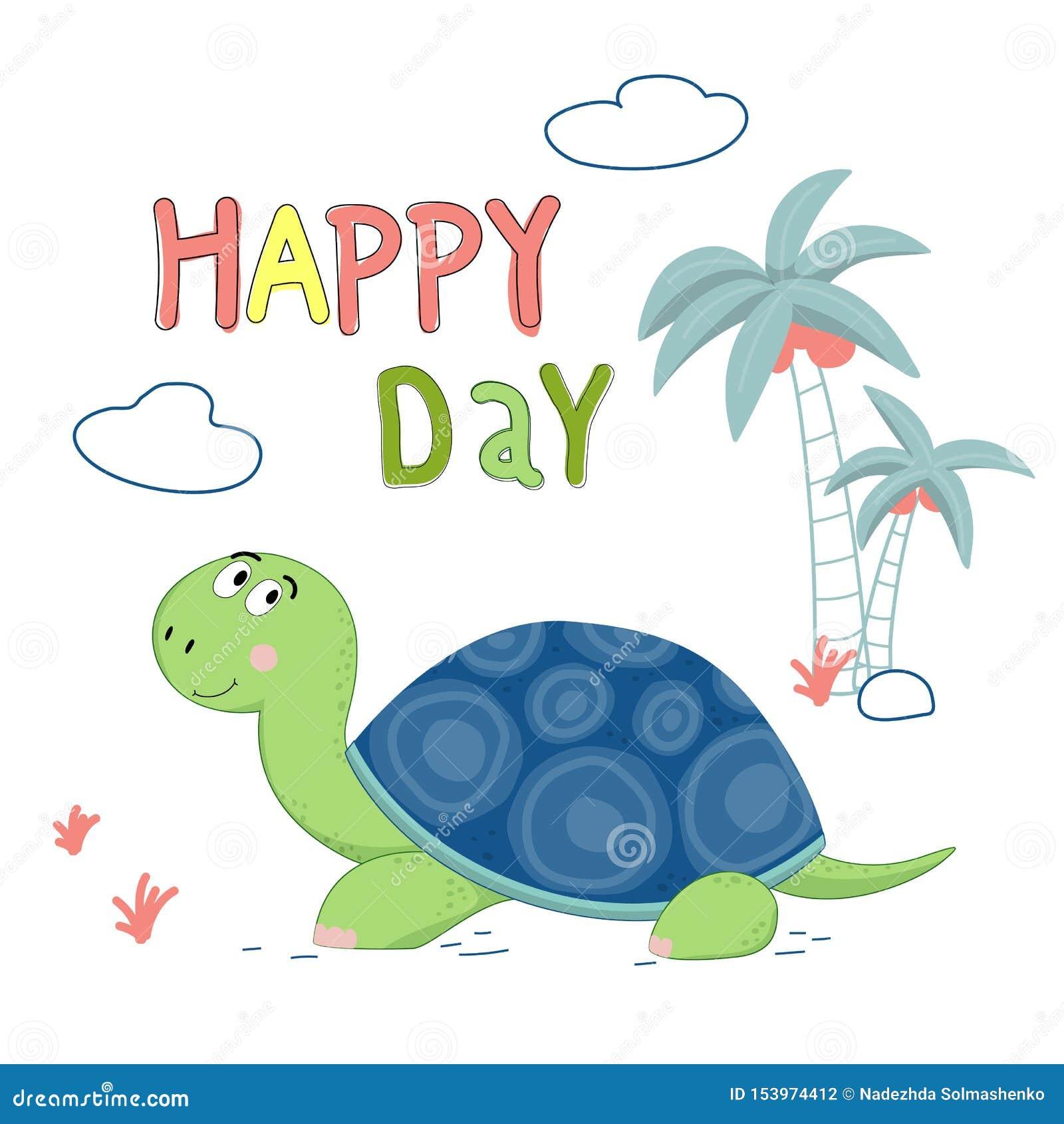Śliczny żółw rysująca wektorowa ilustracja z pisać list szczęśliwego dzień