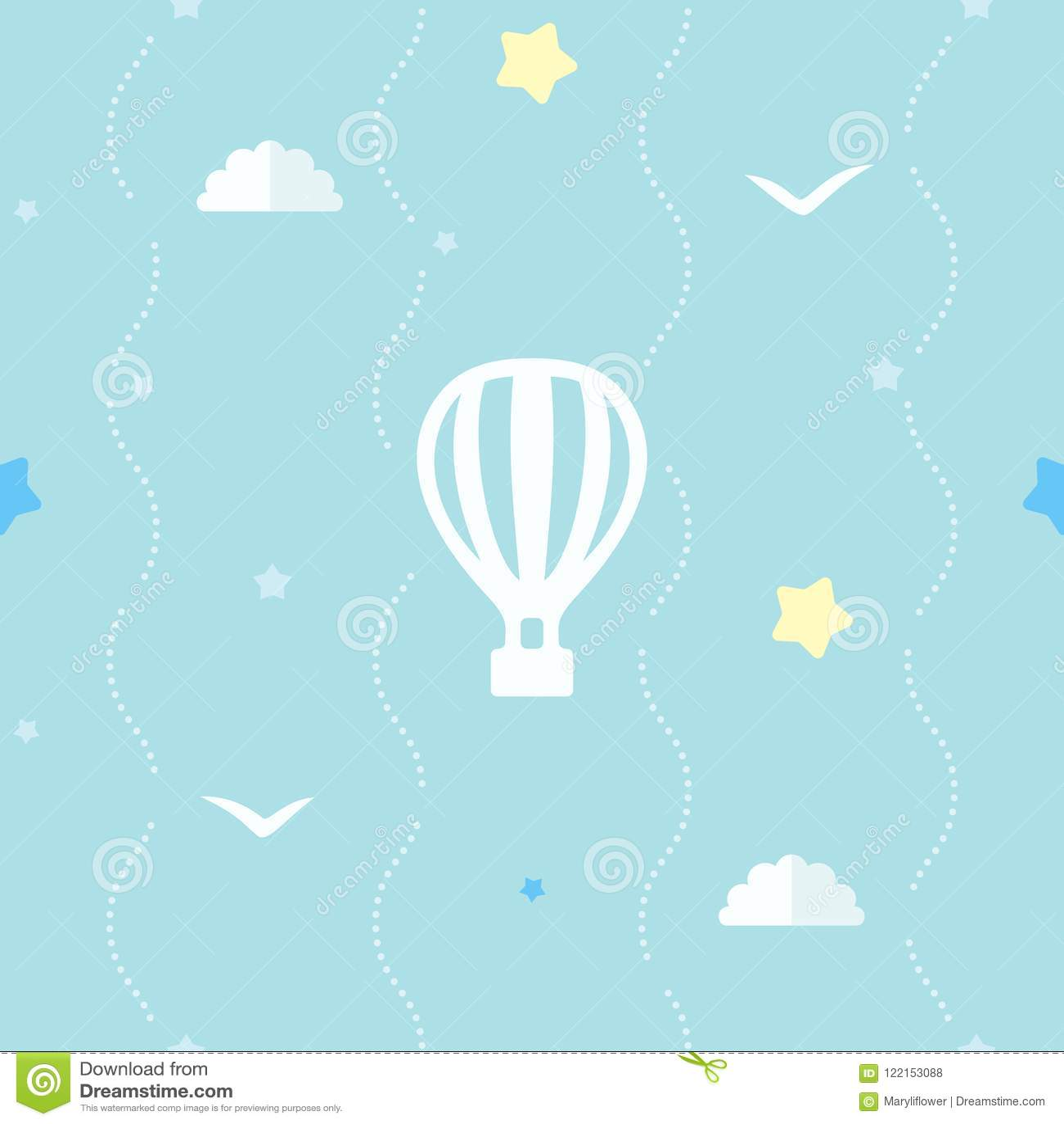 Śliczny bezszwowy tło z gorące powietrze balonem, gwiazdami, chmurami i latającymi ptakami, Błękita wzór z kropkowanymi lampasami