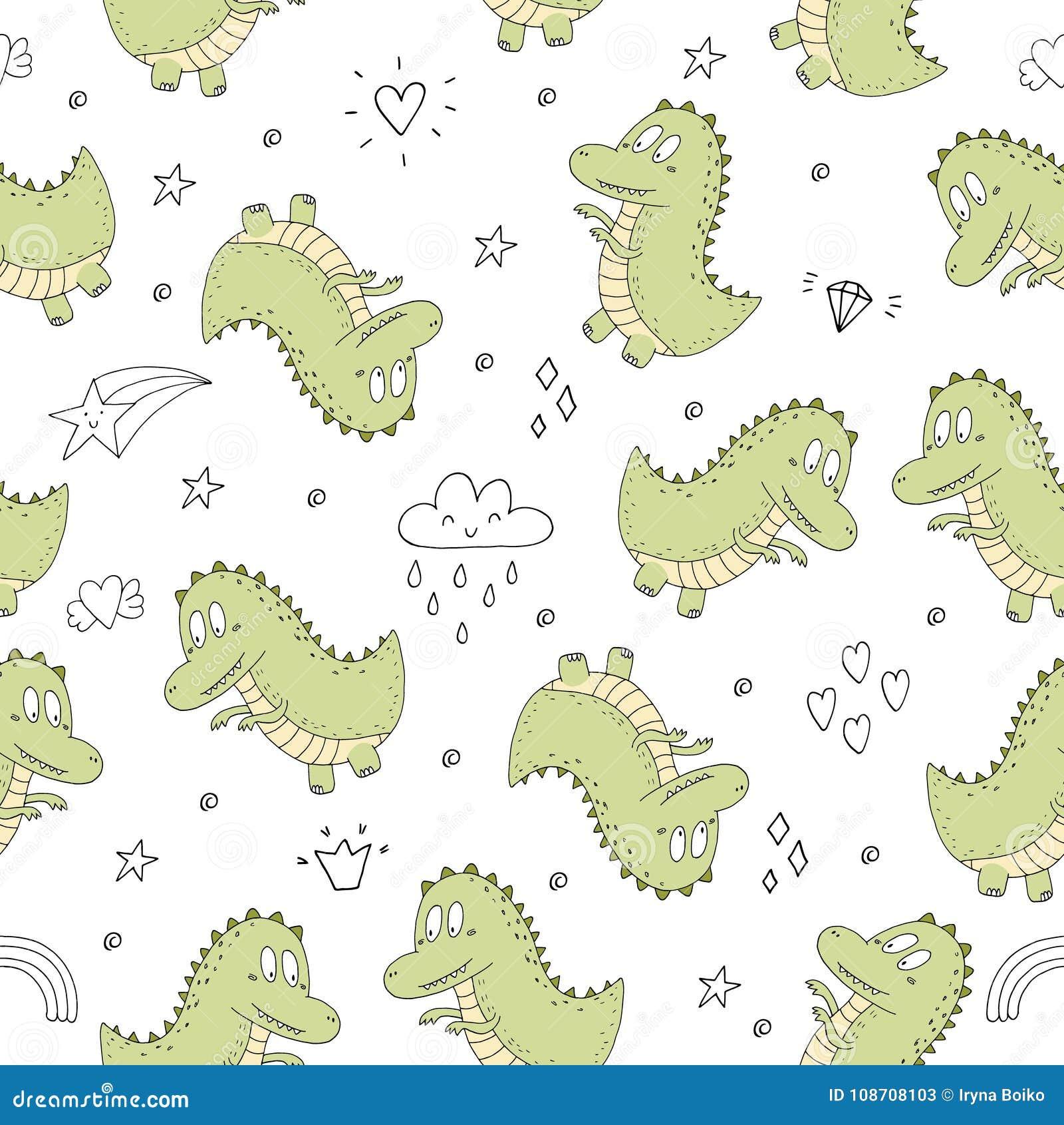 Śliczny bezszwowy wzór z śmiesznymi dinosaurami również zwrócić corel ilustracji wektora