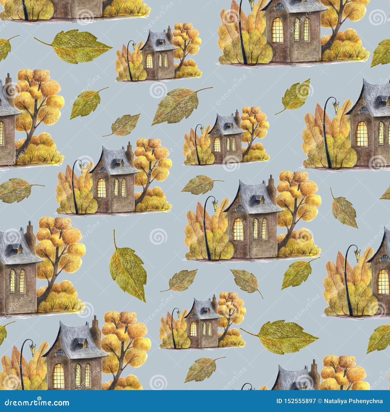 Śliczny bezszwowy wzór z jesień liśćmi i ślicznym domem