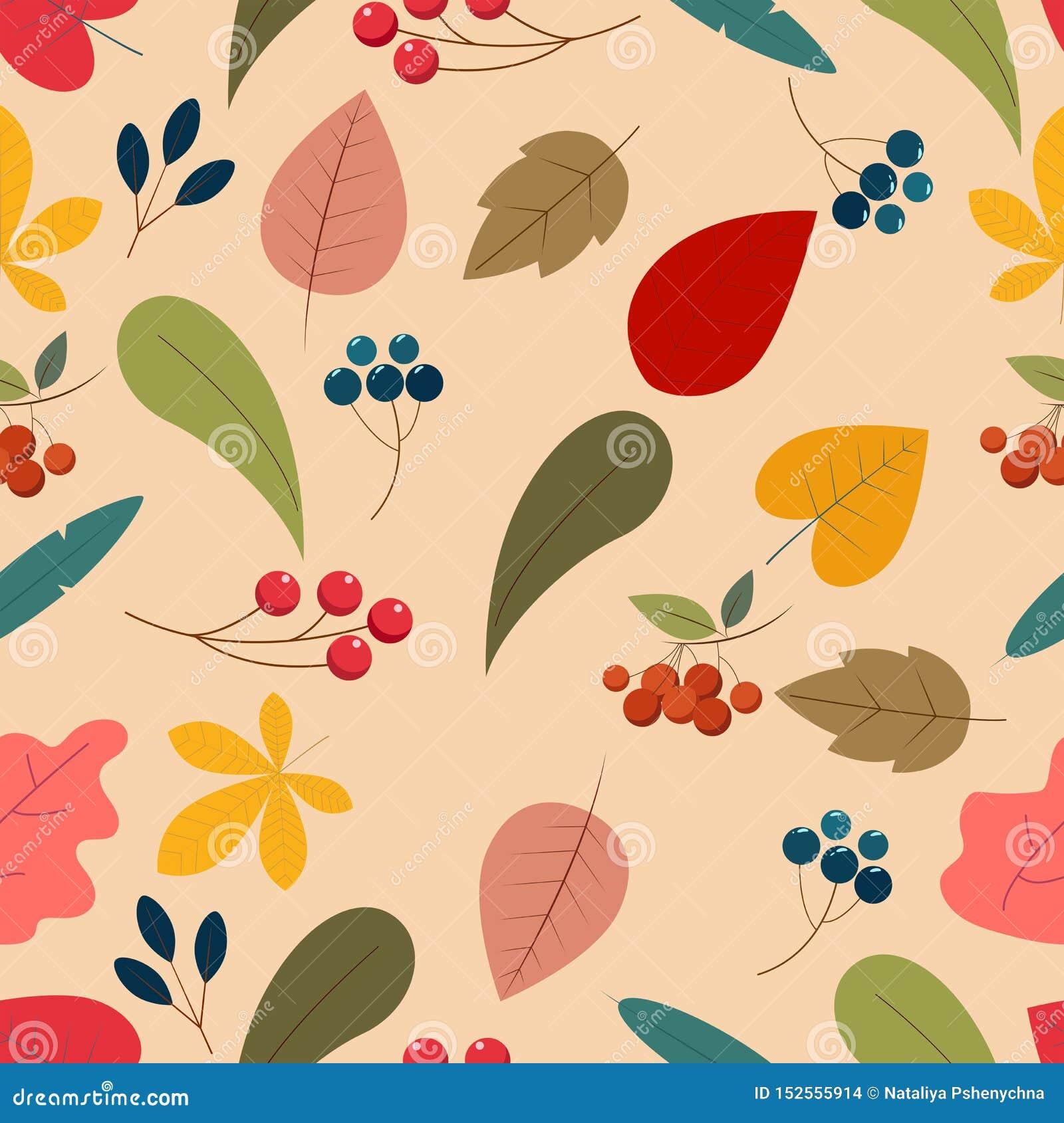 Śliczny bezszwowy wzór z jesień liśćmi Kreskówka stylu płascy elementy