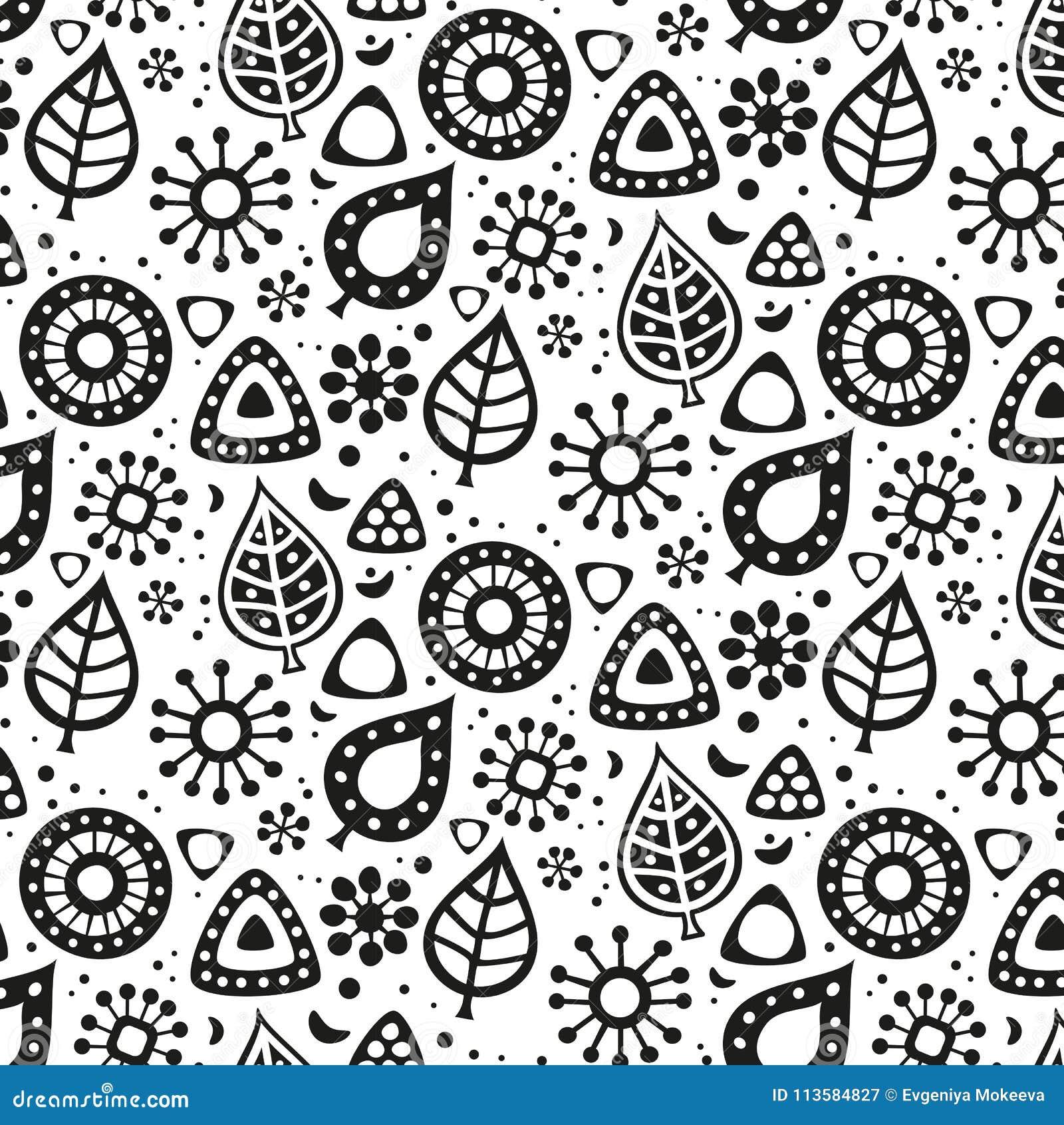 Śliczny bezszwowy wzór z kwiatami i liśćmi