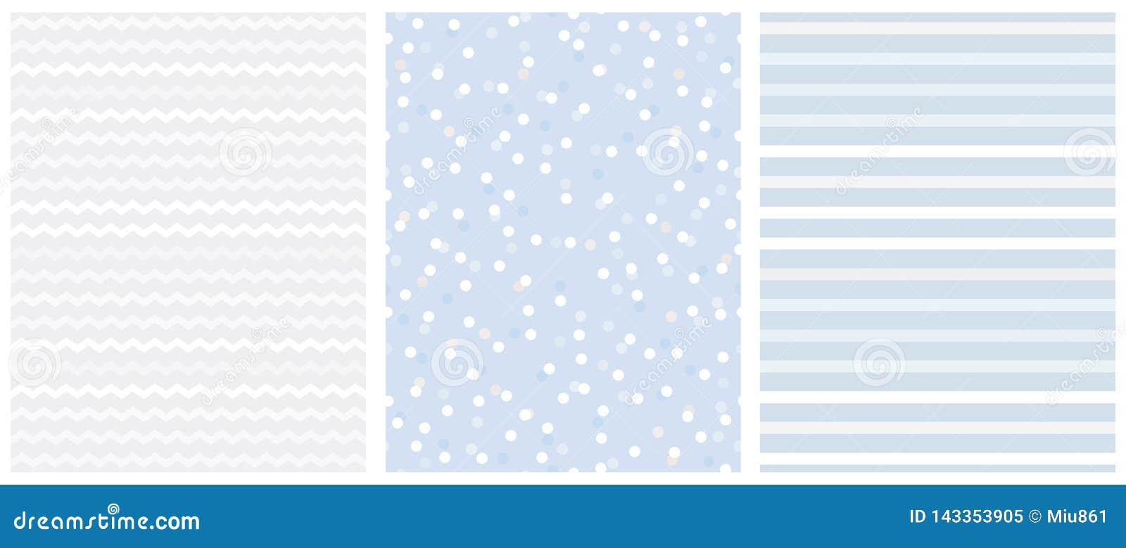 Śliczny Biały i Błękitny Geometryczny Bezszwowy wektoru wzoru set Zygzag, polek kropki i Pionowo lampasy,