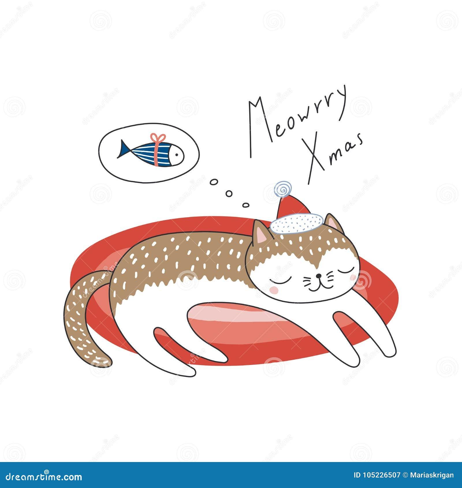 Śliczny Bożenarodzeniowy kota kartka z pozdrowieniami