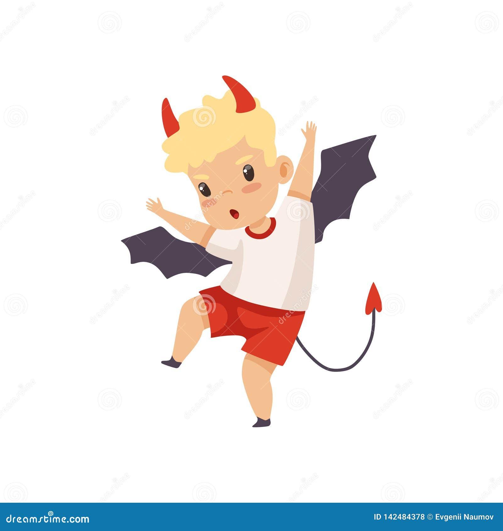 Śliczny chłopiec diabeł, Niegrzeczny dzieciak, Zła dziecka zachowania wektoru ilustracja