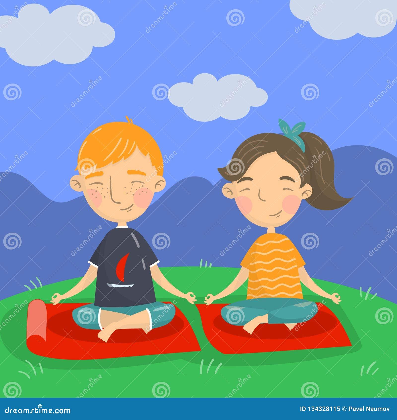 Śliczny chłopiec, dziewczyny obsiadanie na podłoga w i, dzieciaków joga wektorowa ilustracja, kreskówka styl