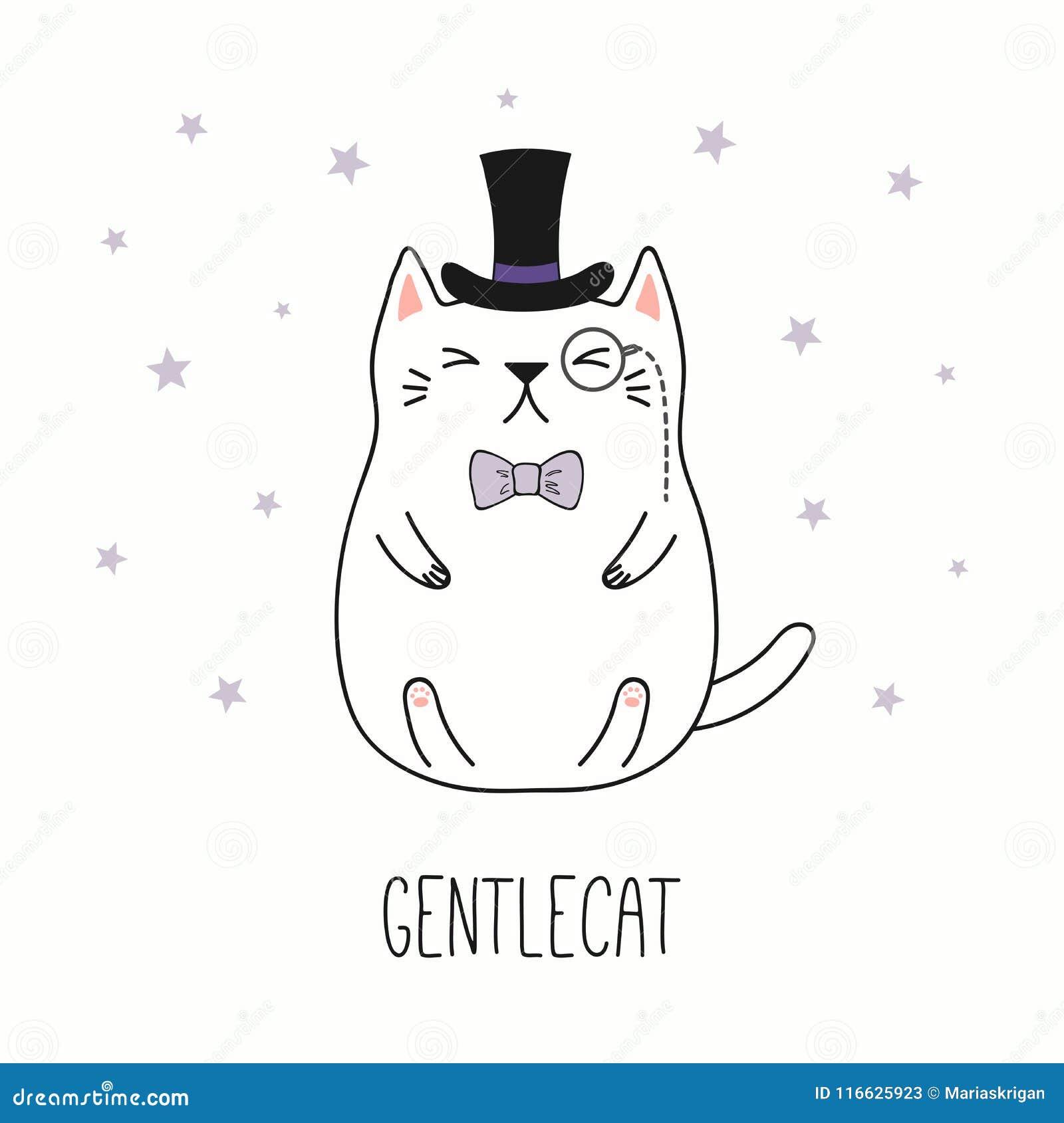 śliczny Dżentelmenu Kot Ilustracja Wektor Ilustracja Złożonej Z