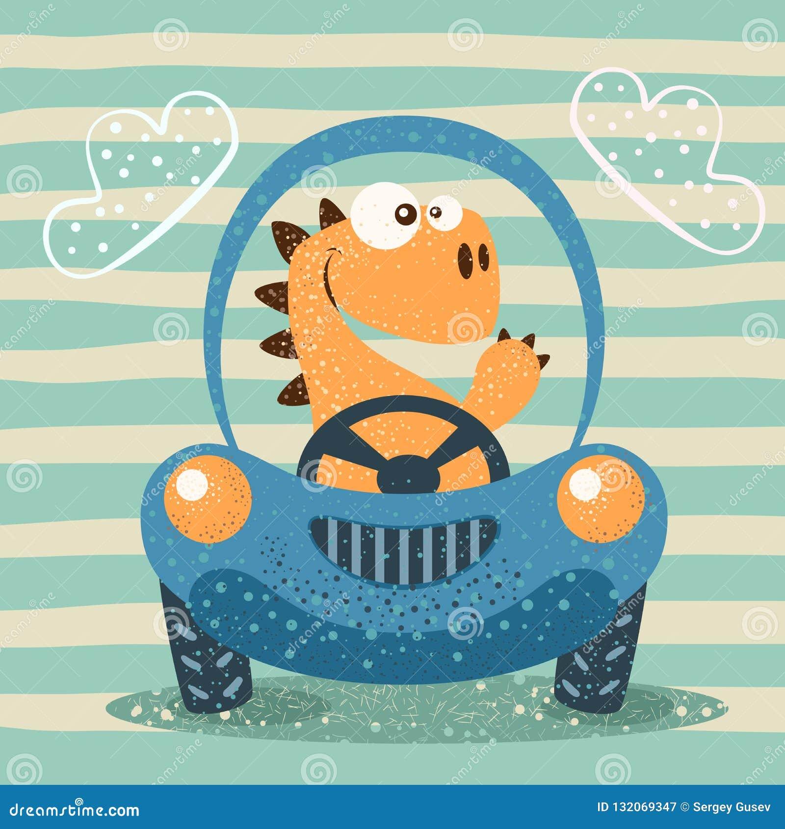 Śliczny Dino prowadnikowy śmieszny samochód