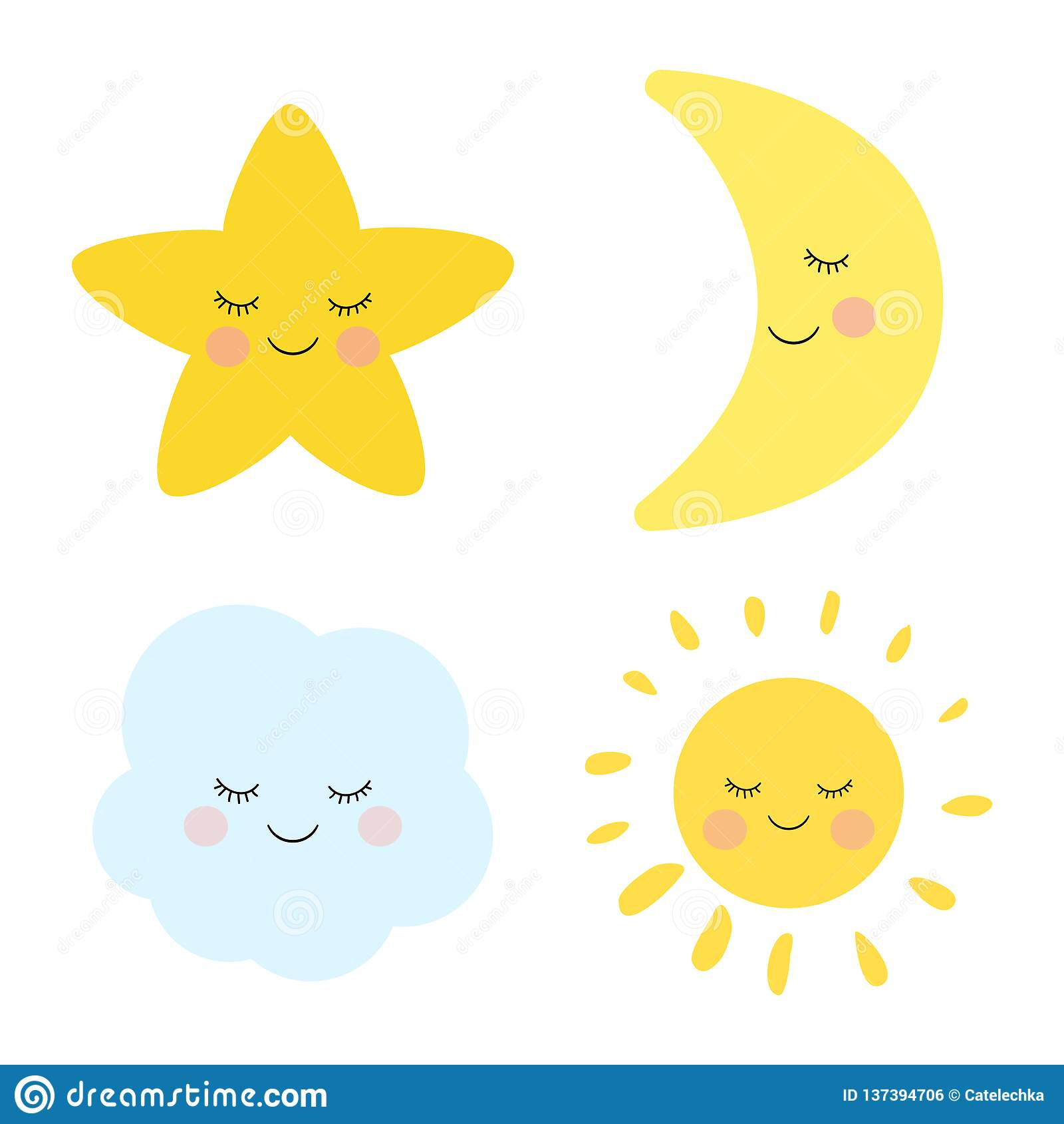 Śliczny dosypianie, uśmiechnięta mała gwiazda, księżyc, chmura i słońce, Urocza dziecięca sztuka