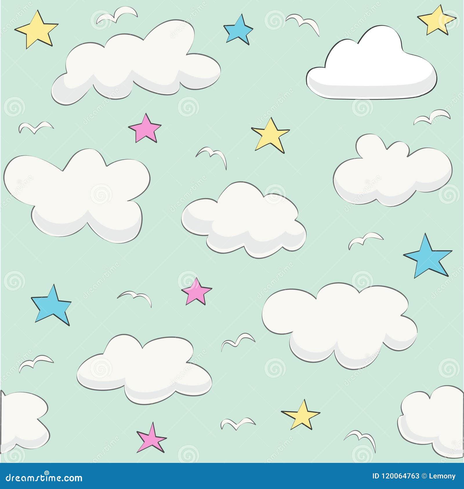 Śliczny dziecko chmury wzoru wektor bezszwowy