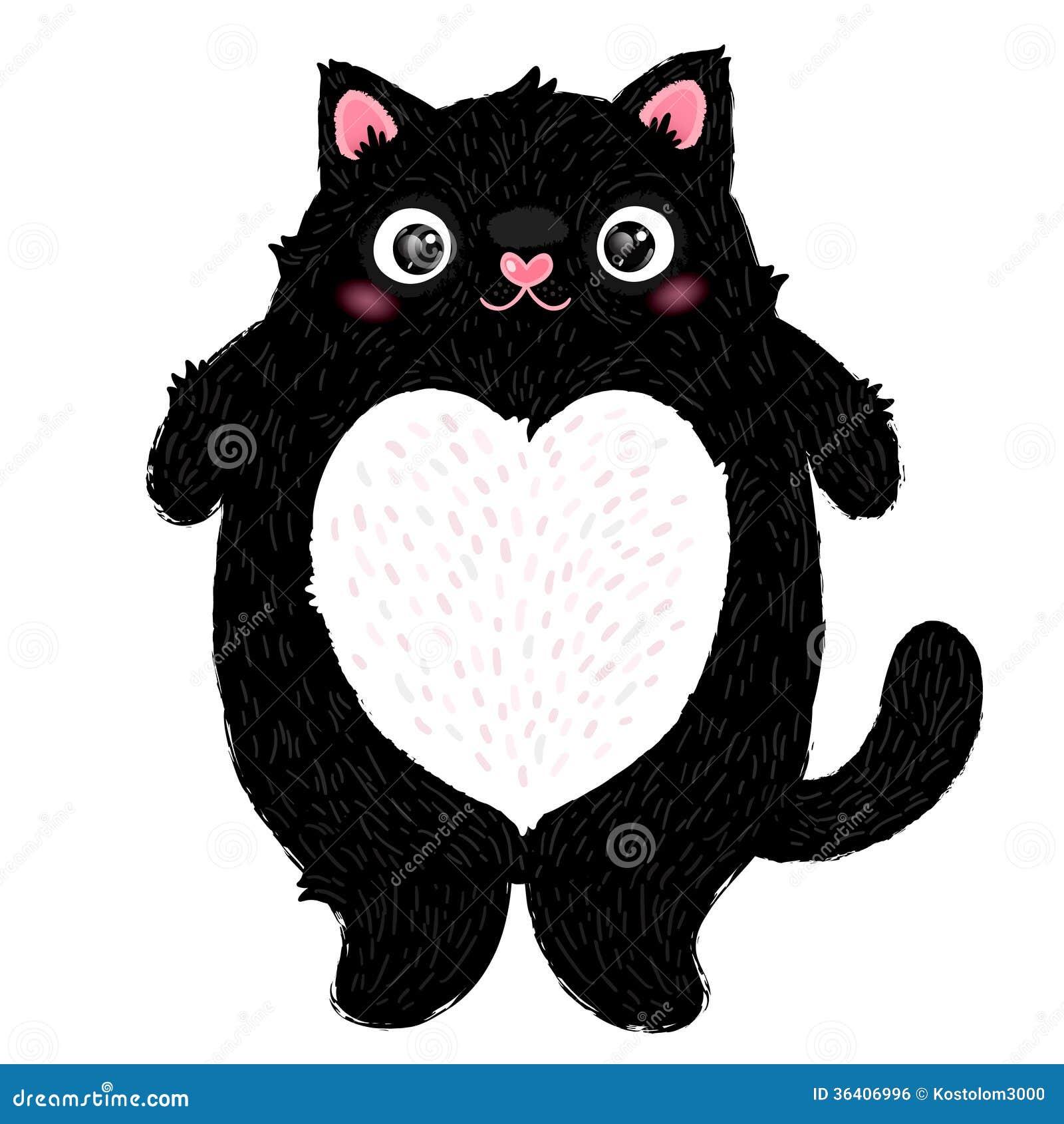 Śliczny gruby kota charakter
