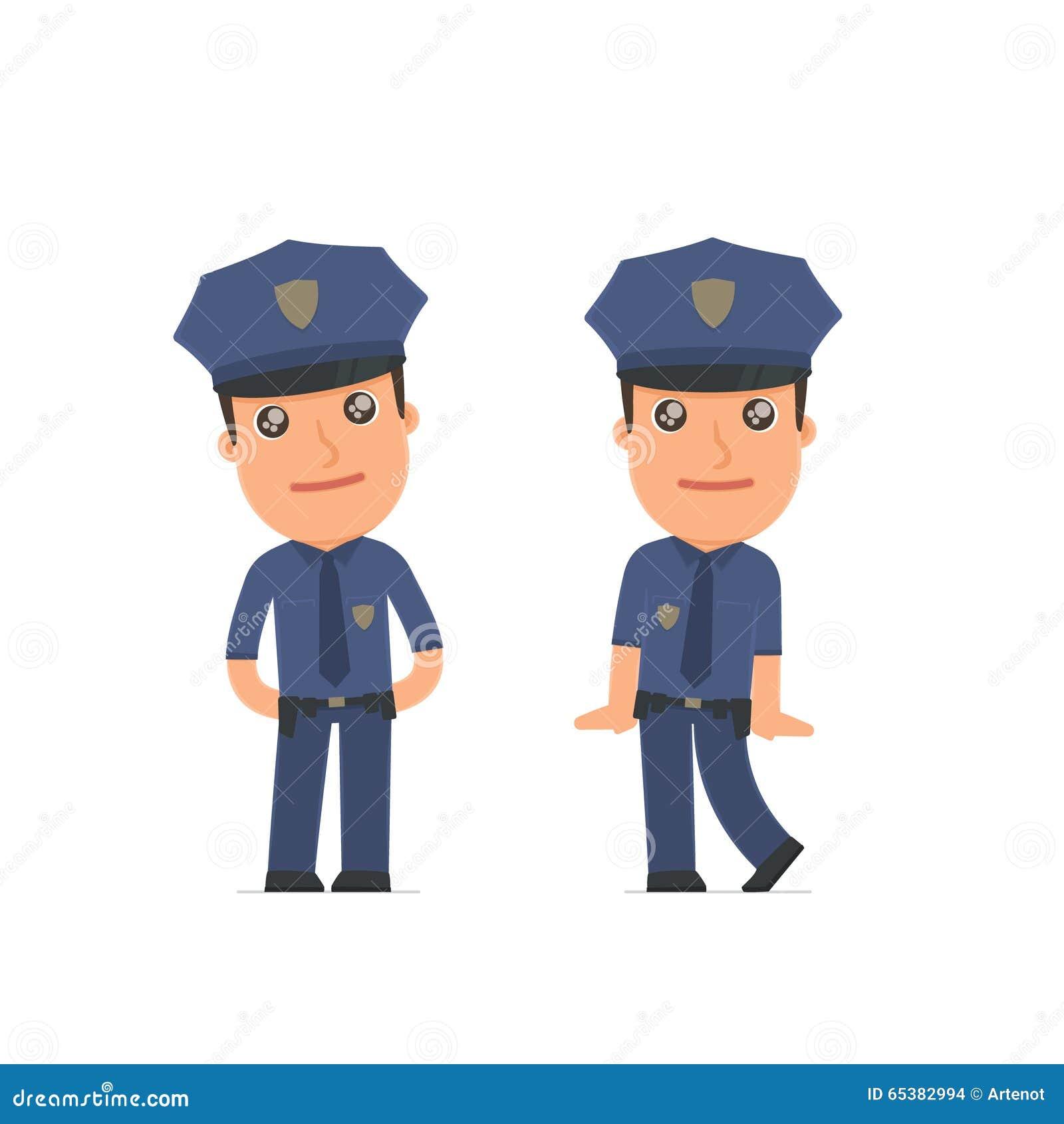 Śliczny i Czule charakteru oficer w pozach