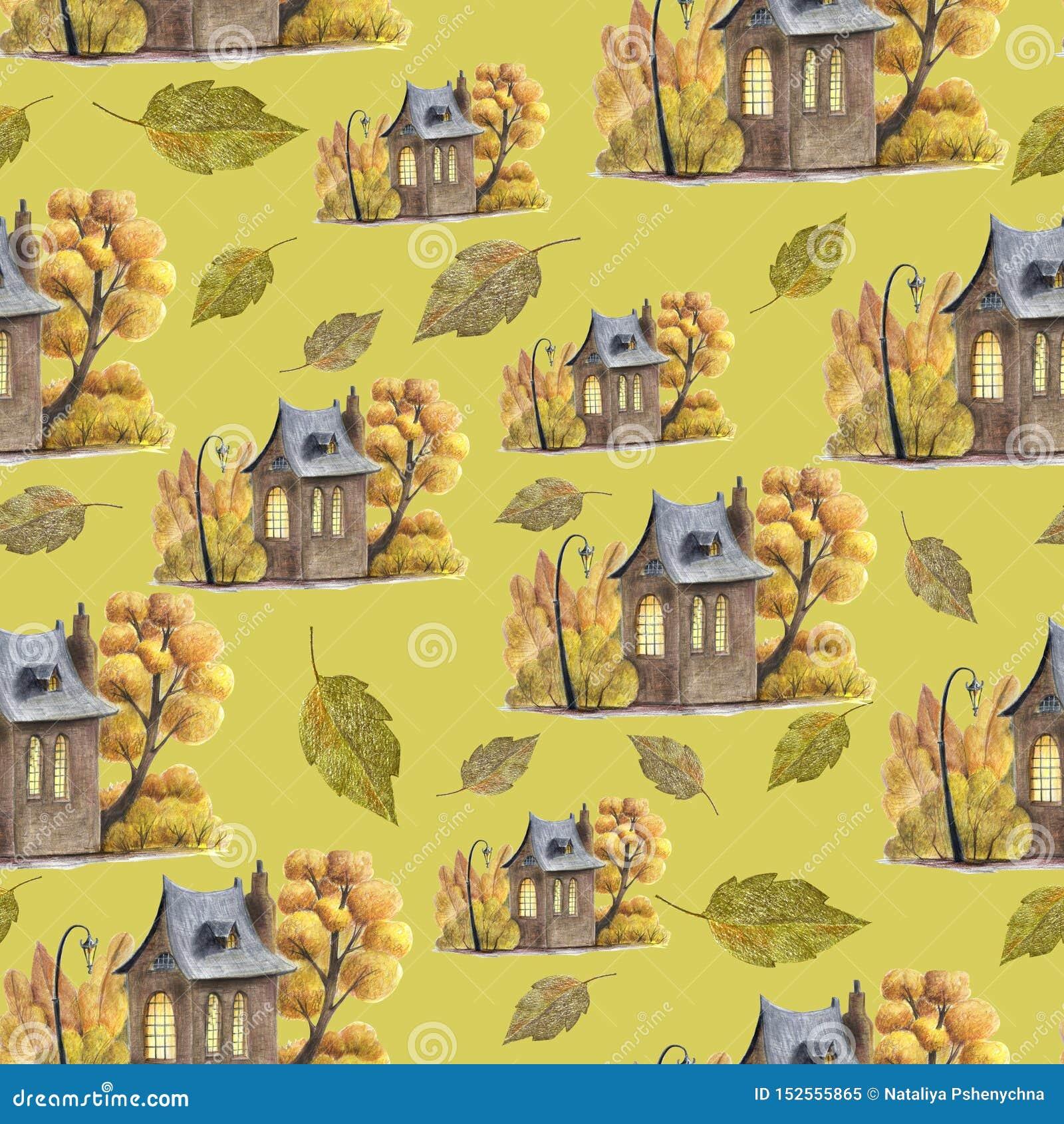 Śliczny jesień wzór z ręka rysującymi elementami