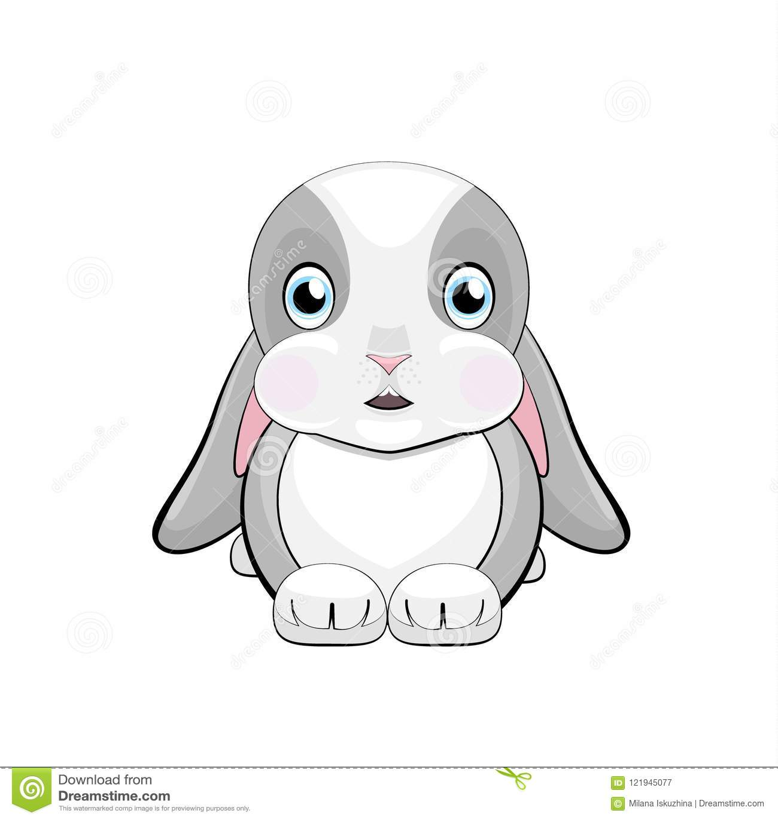 Śliczny królik z dojrzewającymi ucho z emocją zawstydzenie i niespodzianka