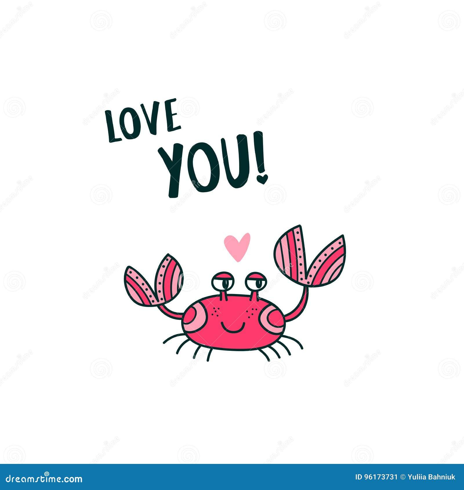 Śliczny krab mówi miłości Ty