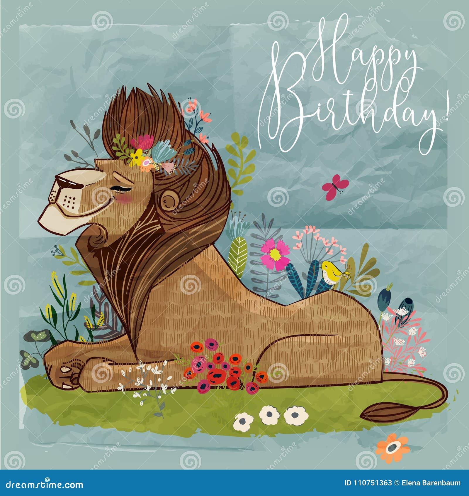 Śliczny kreskówka lwa królewiątko