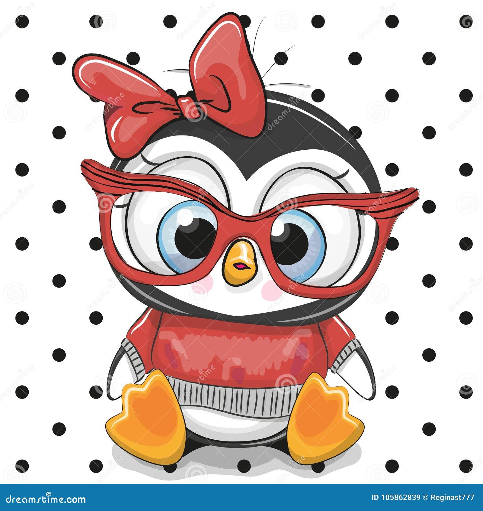 Śliczny kreskówka pingwin z czerwonymi szkłami