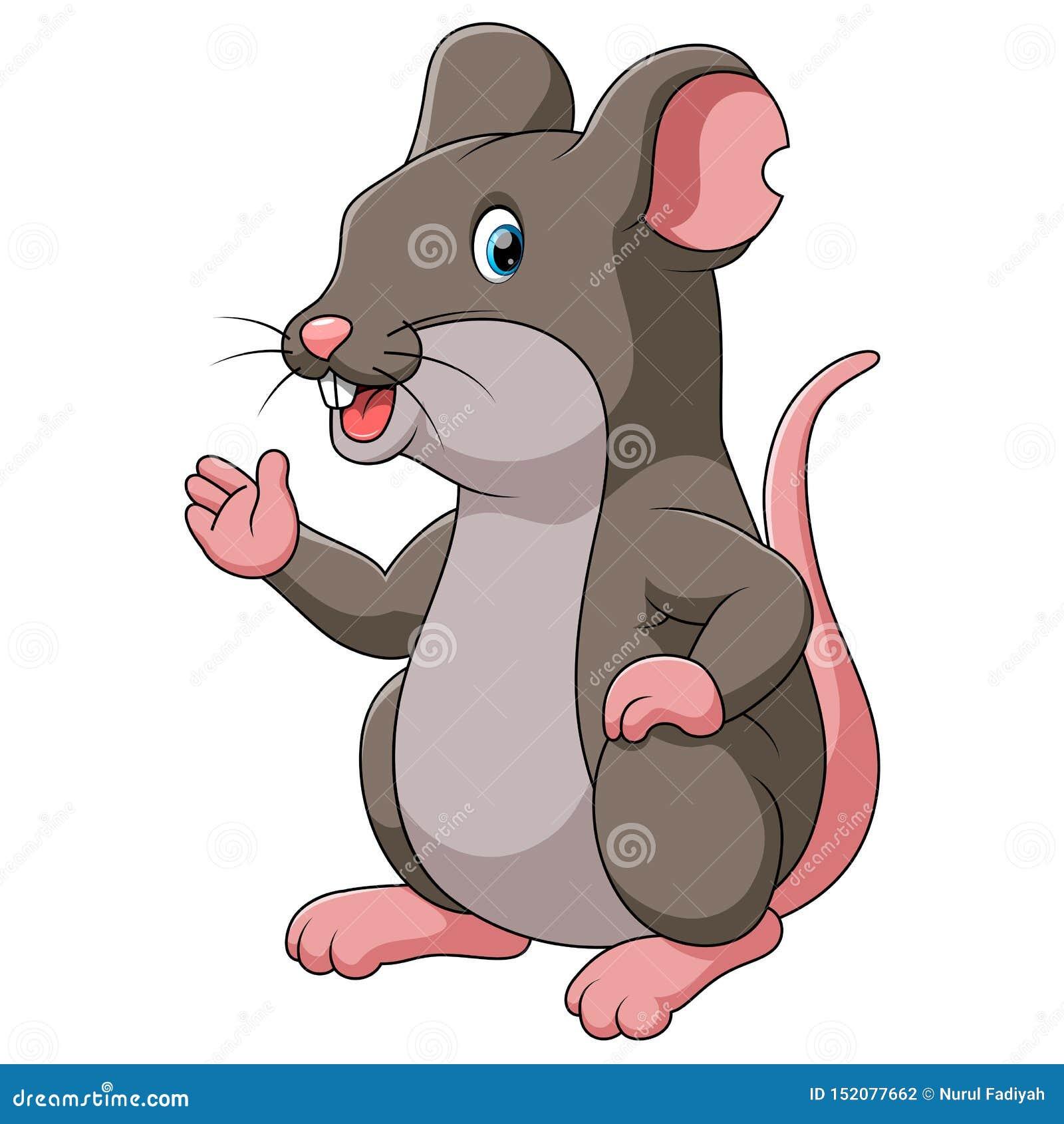 Śliczny kreskówka szczur wskazuje