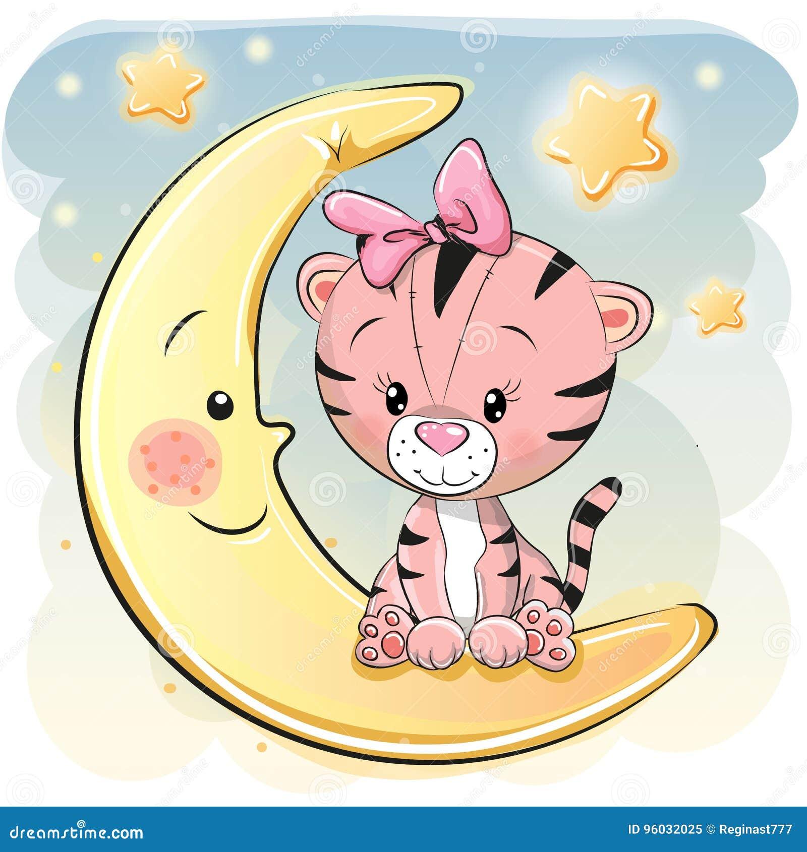 Śliczny kreskówka tygrys na księżyc