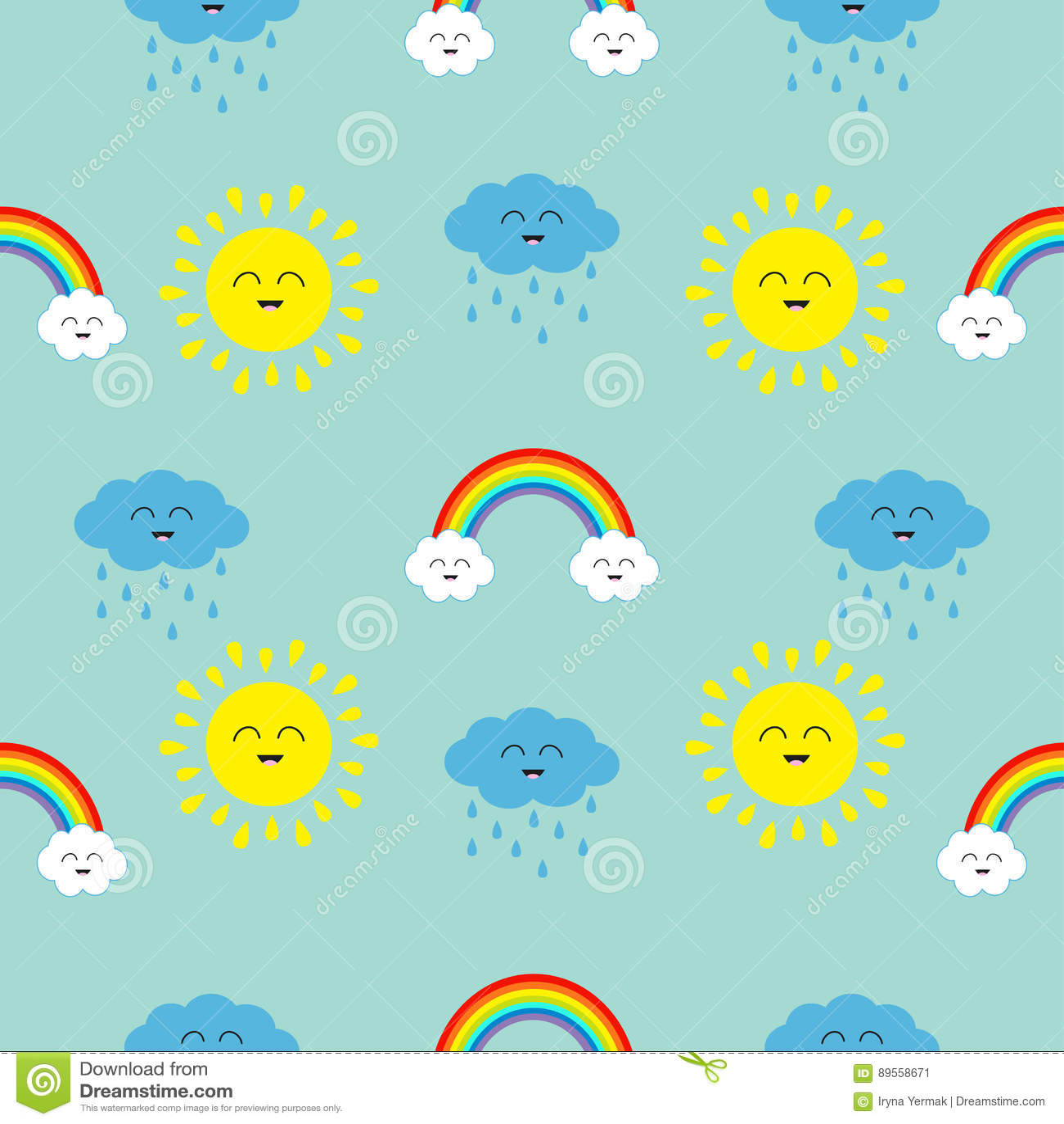 Śliczny kreskówki kawaii słońce, chmura z deszczem, tęcza set Uśmiechnięta twarzy emocja Dziecko charakteru Bezszwowy Deseniowy O
