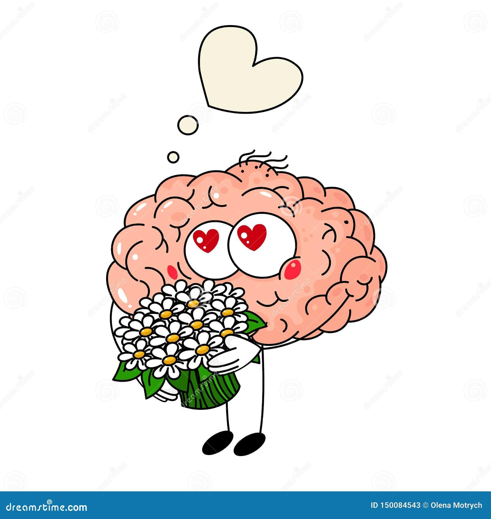 Śliczny ludzkiego mózg spadek w miłości, z bukietem kwiaty na białym tle