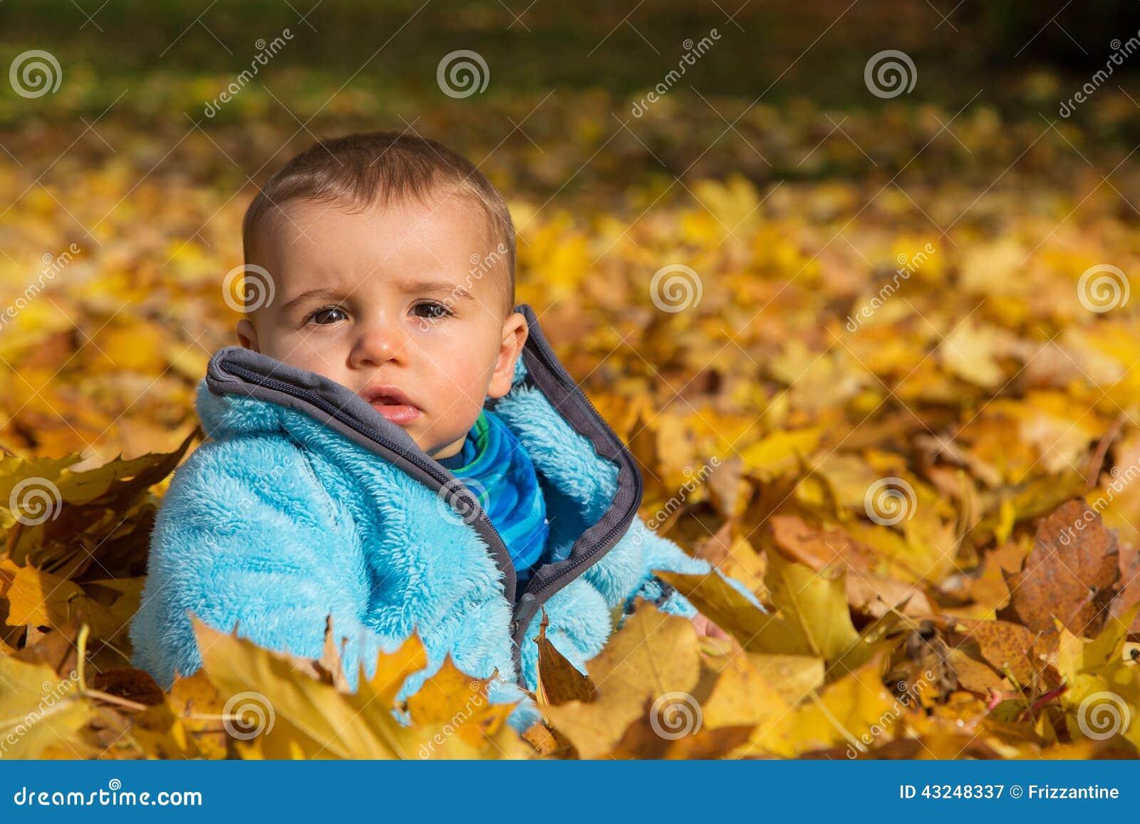 Śliczny mały chłopiec obsiadanie w liściach klonowych